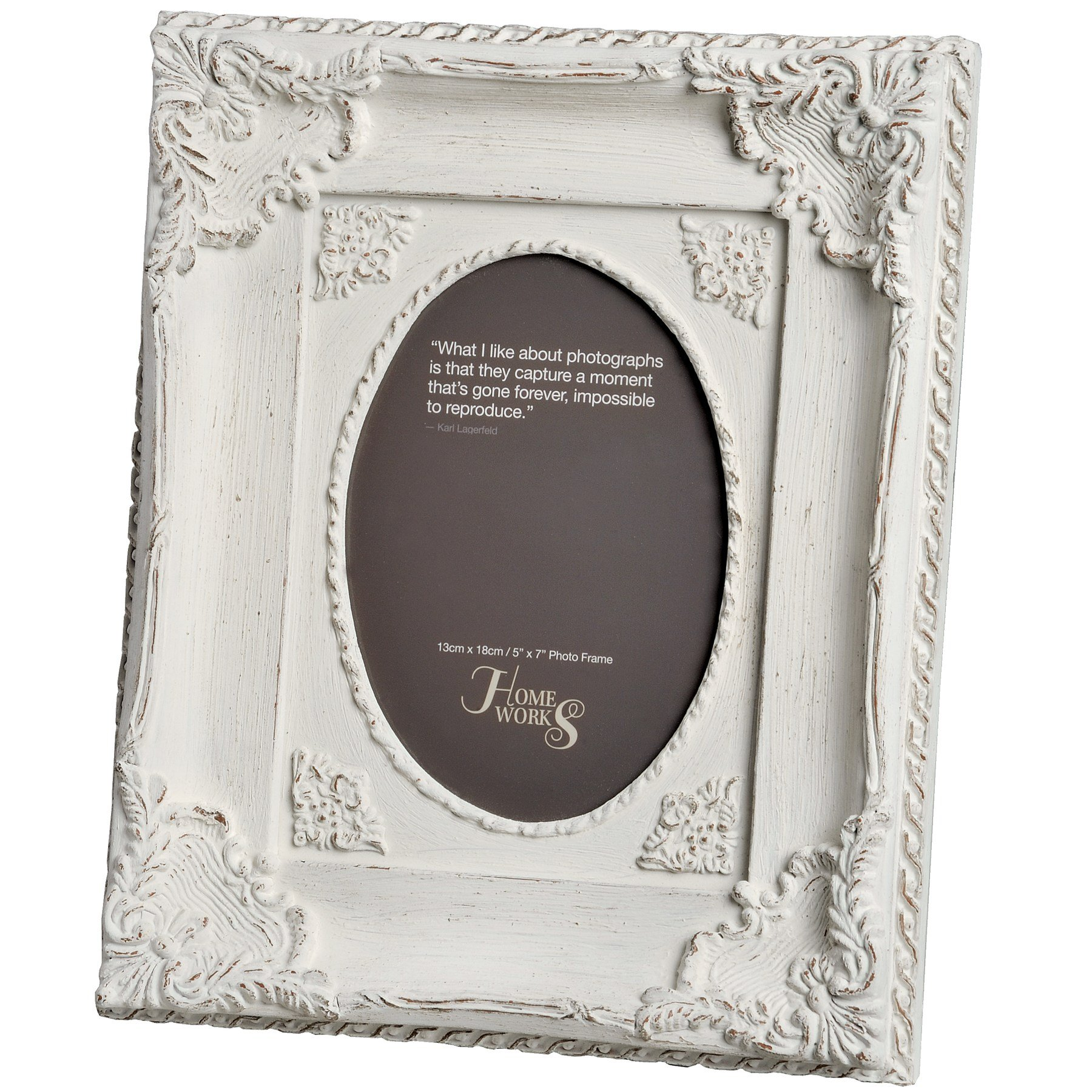 5x7 Ornate Antique White Oval Photo Frame From Hill Interiors