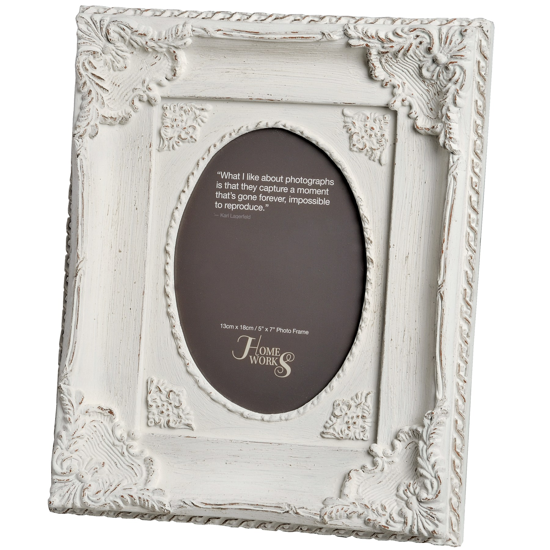 5x7 ornate antique white oval photo frame