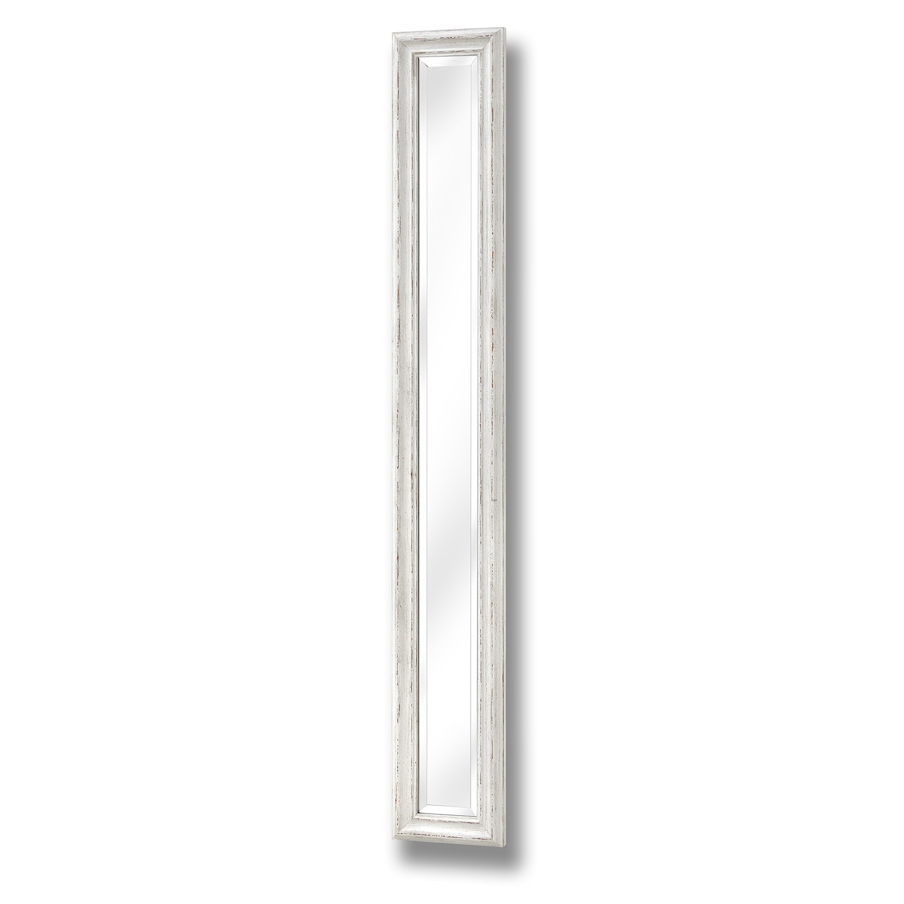 Antique white frame narrow wall mirror from hill interiors for Thin wall mirror