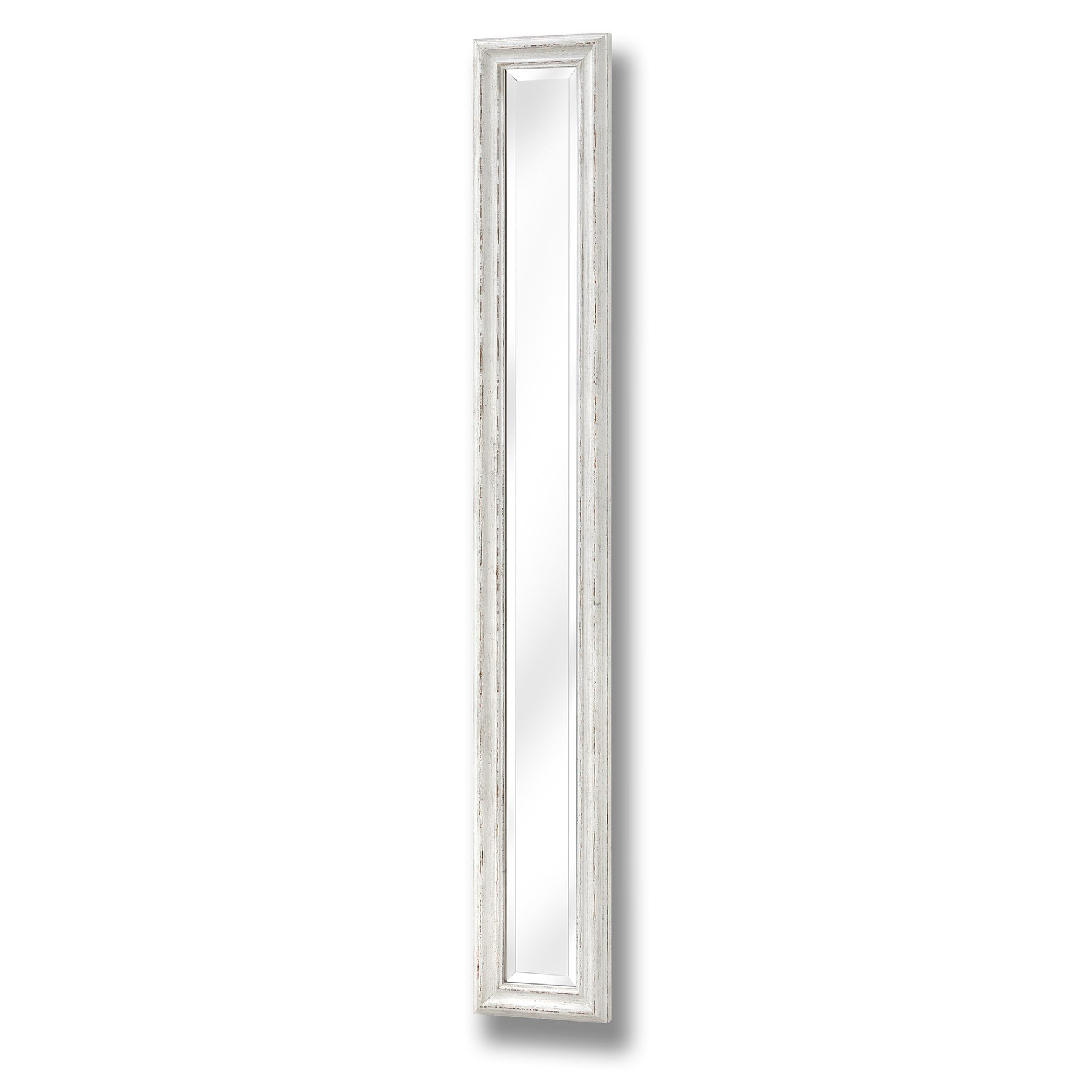 Antique white frame narrow wall mirror from hill interiors for Narrow wall mirror decorative