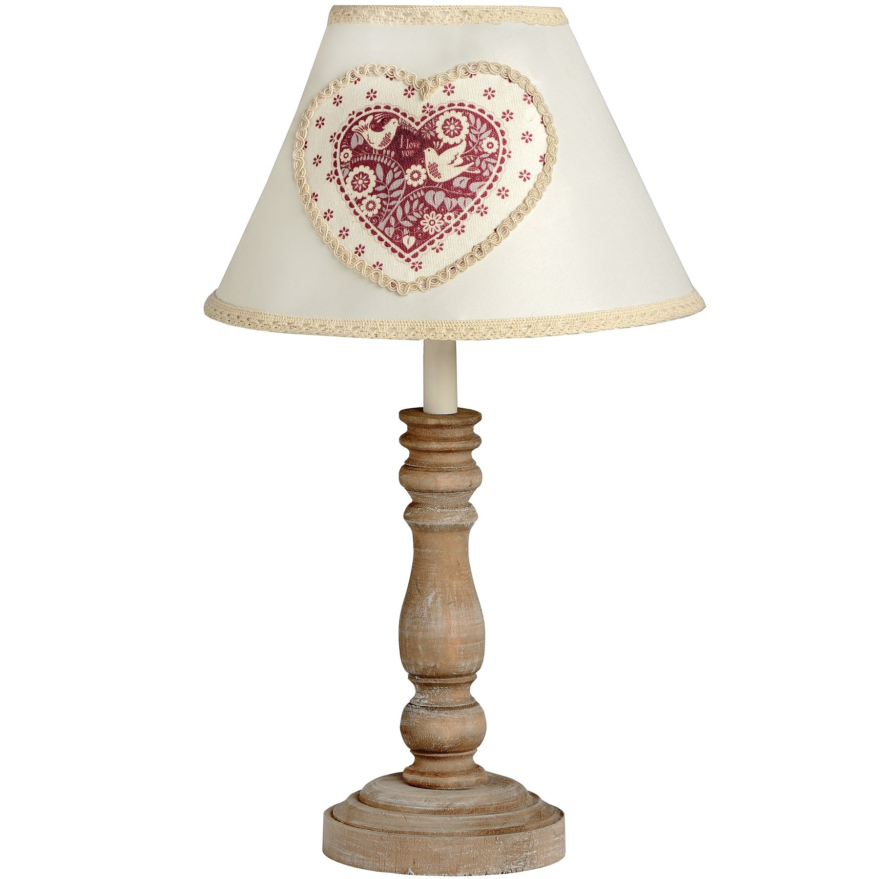 Wooden Wall Lamp Shades : Small Wooden Lamp With Heart Fabric Shade
