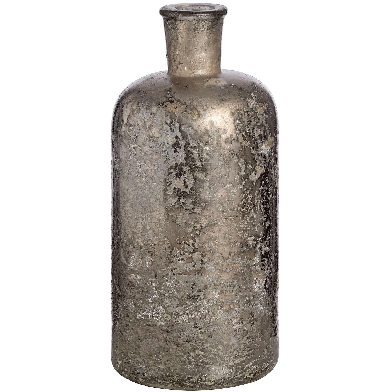 Antique Silver Effect Glass Bottle Vase - Image 1