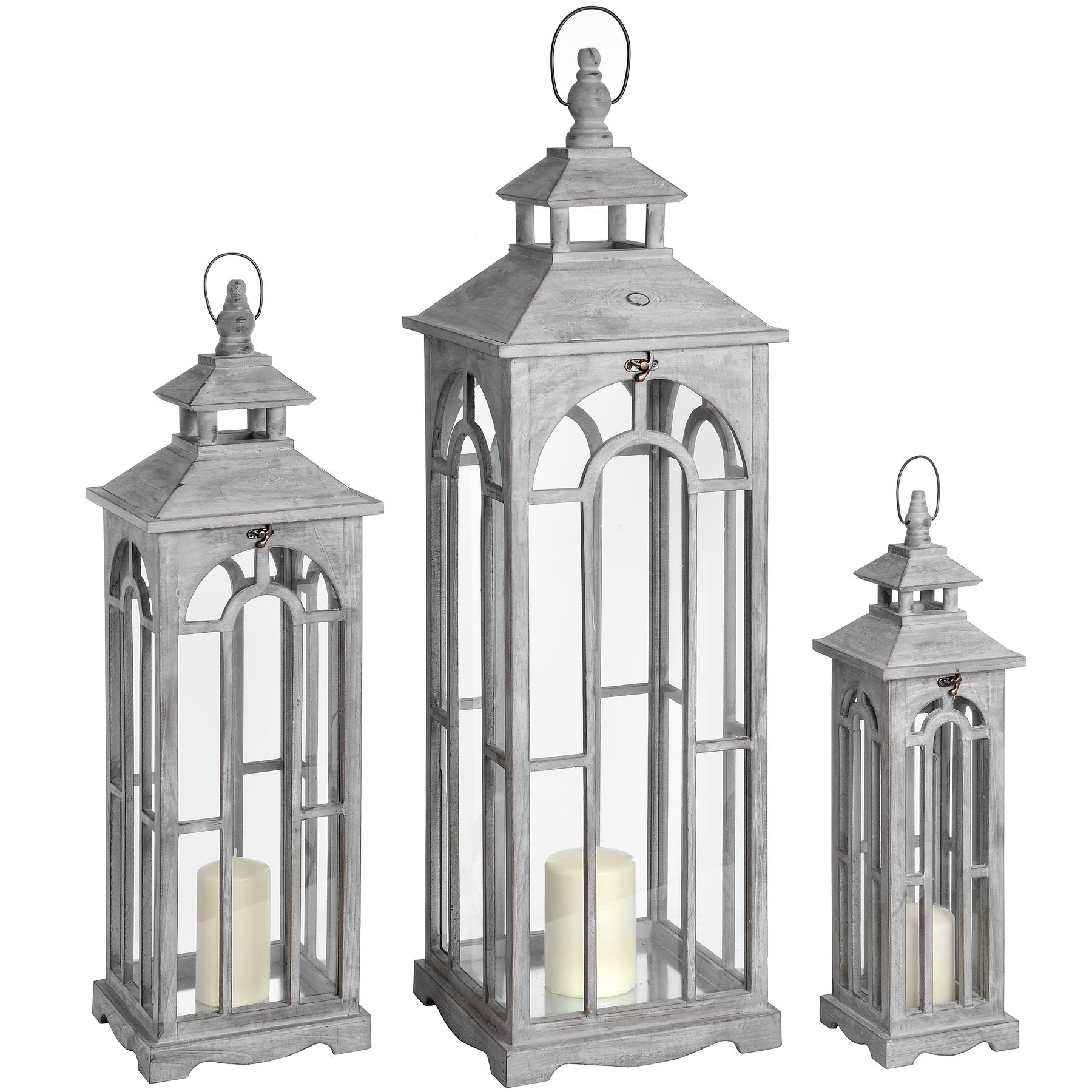 set of three wooden lanterns with archway design from hill interiors. Black Bedroom Furniture Sets. Home Design Ideas