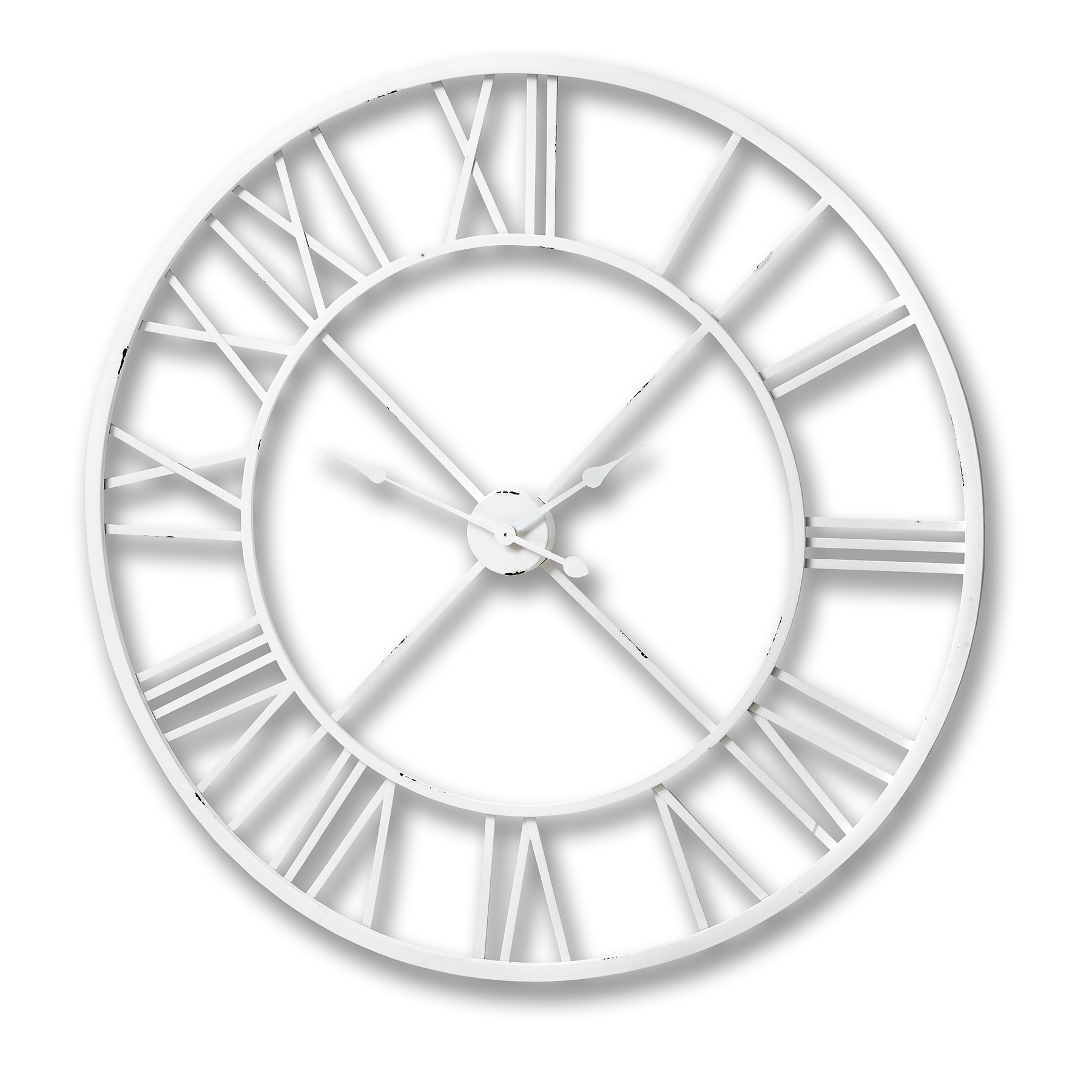 Antique White Roman Numeral Wall Clock From Hill Interiors