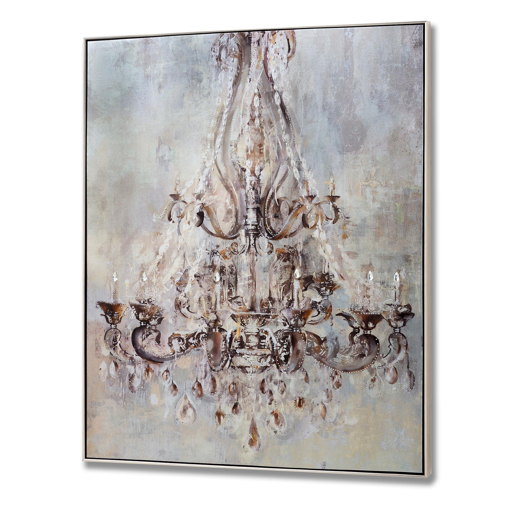 Metal Sculptures And Art Wall Decor: Framed Metalic Chandelier Wall Art With Metal Studs From
