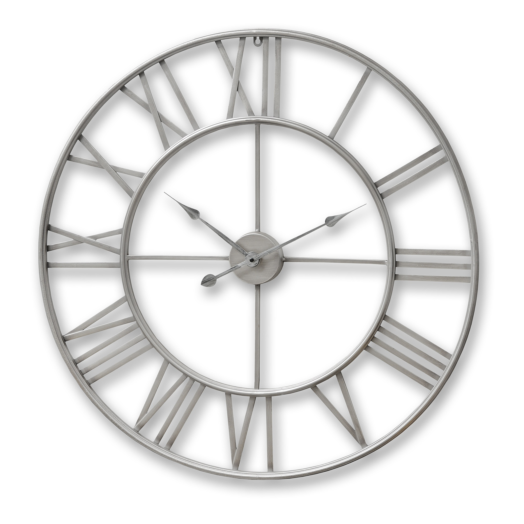 Silver Metal Frame Round Clock From Hill Interiors