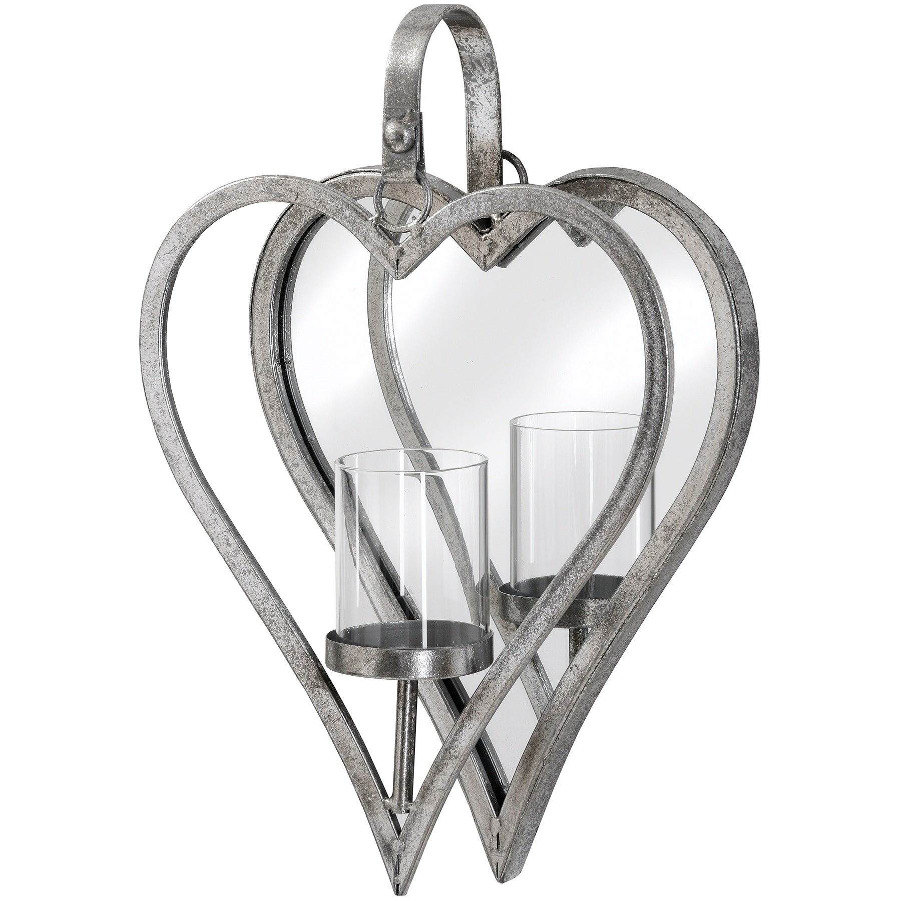 Hill Interiors Heart Mirror And Candle Holder