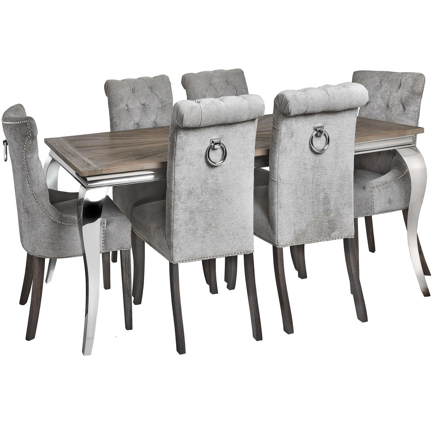 Silver Roll Top Dining Chair With Ring Pull - Image 6