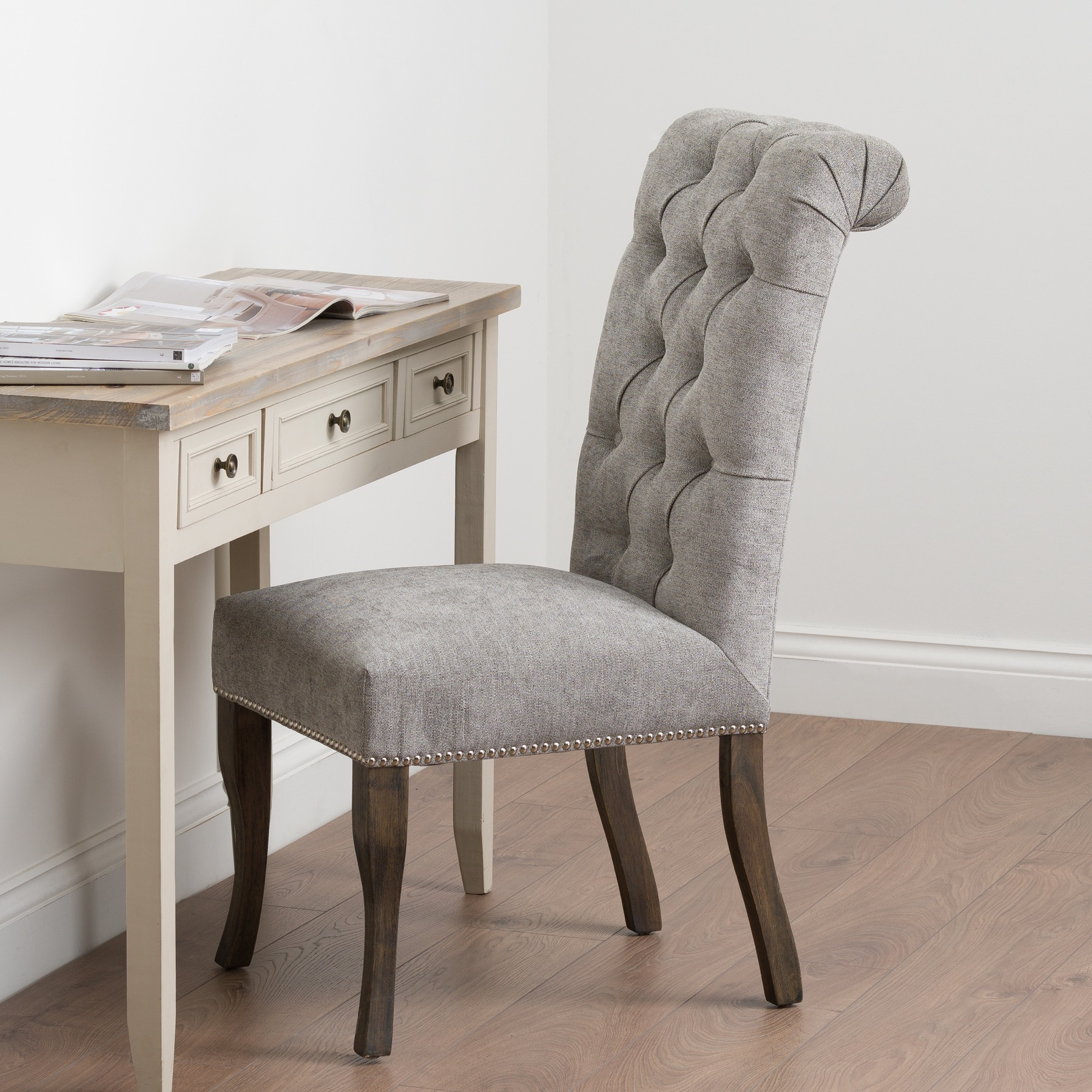 Silver Roll Top Dining Chair With Ring Pull - Image 7