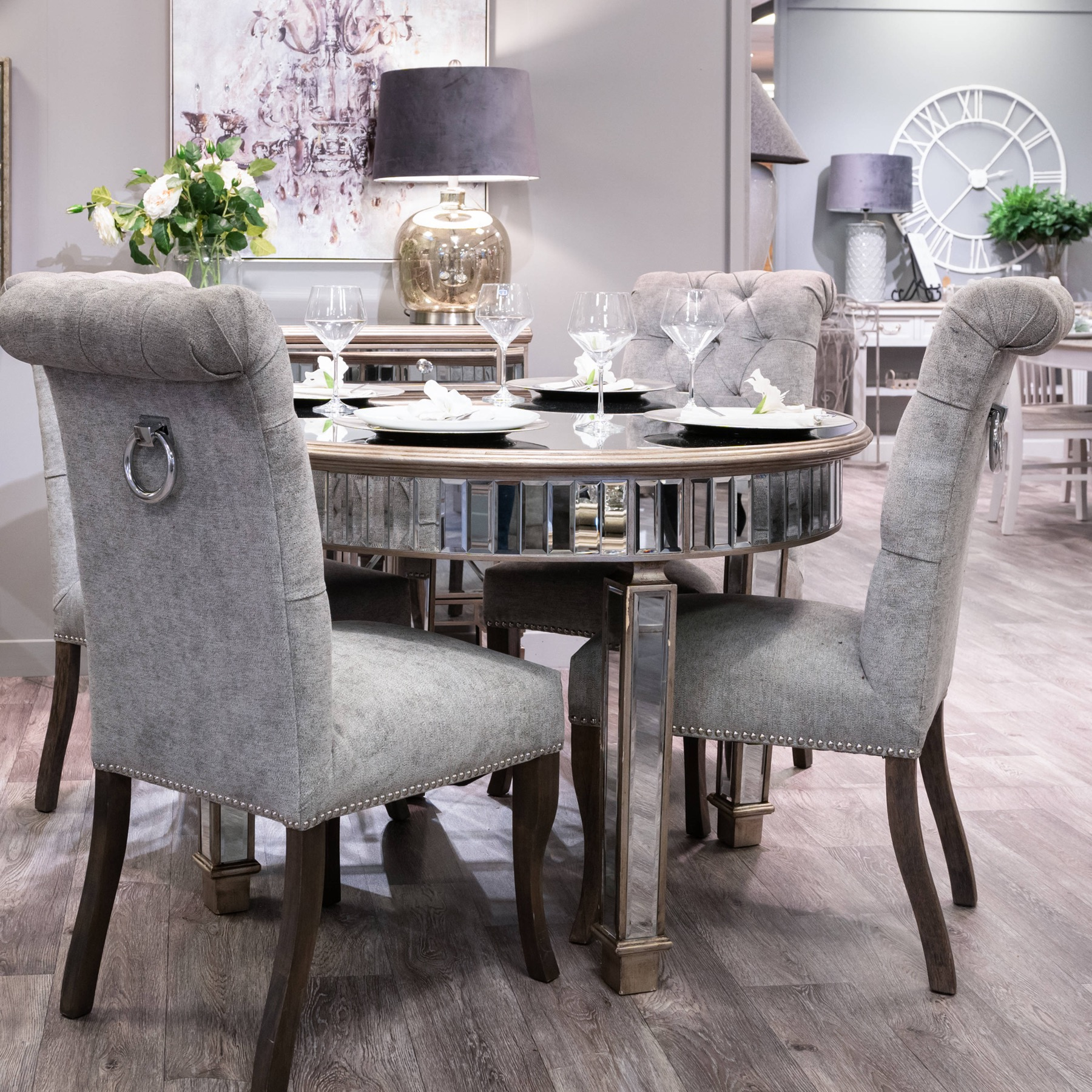 Silver Roll Top Dining Chair With Ring Pull - Image 8