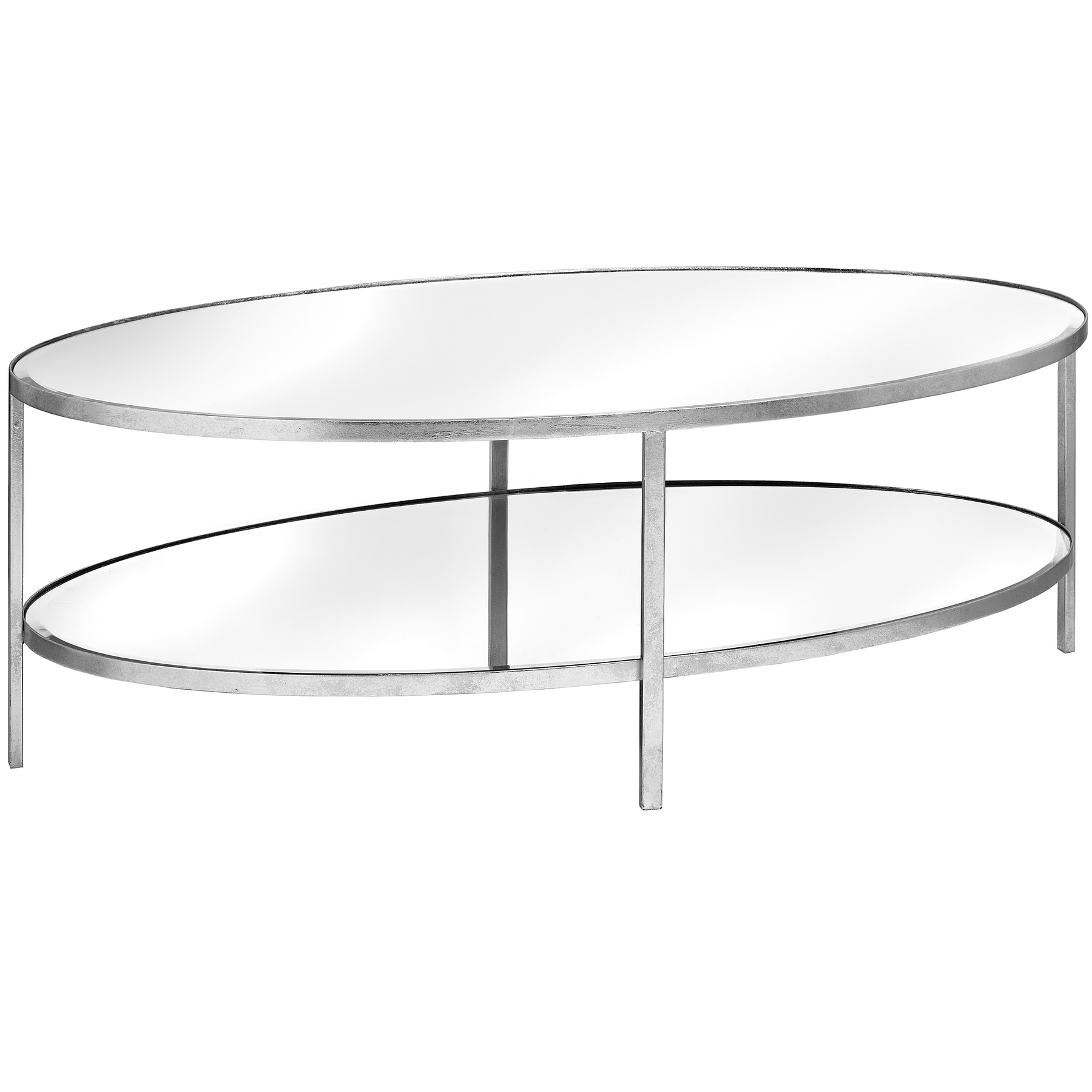 Large Silver Mirrored Oval 2 Shelf Coffee Table From Hill