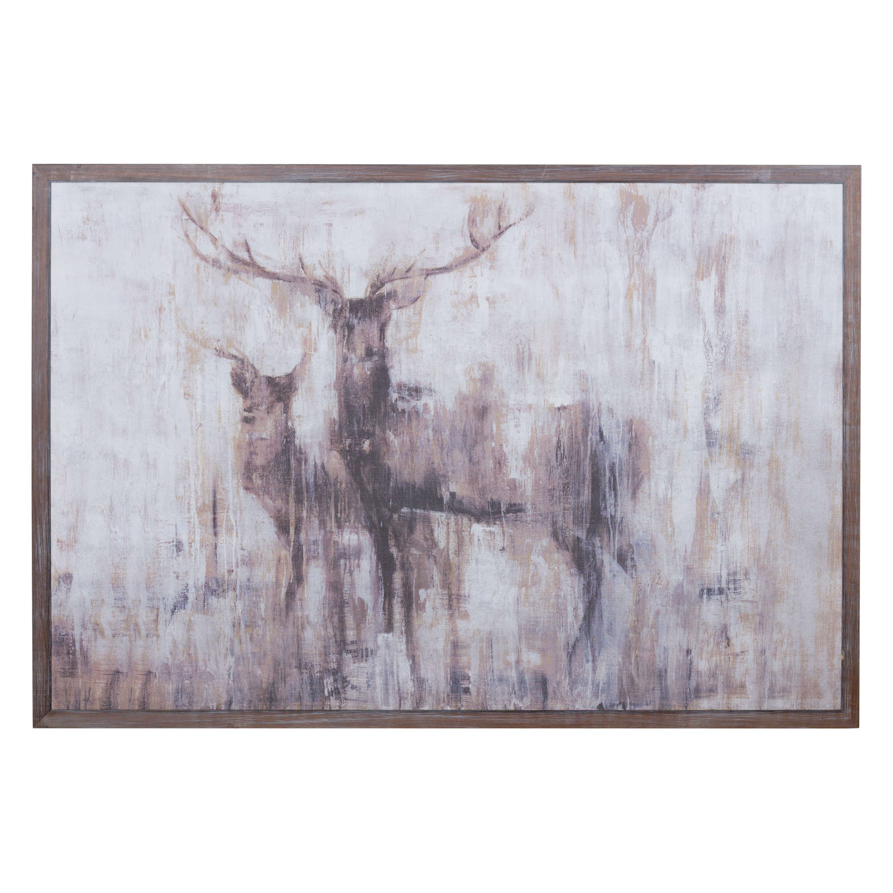 Stags In The Wilderness On Cement Board With Wooden Frame - Image 1