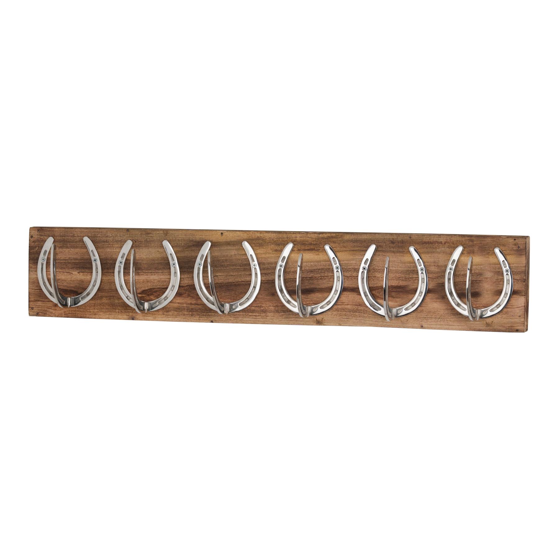 Six Nickel Horse Shoe Hooks On Wooden Board - Image 1