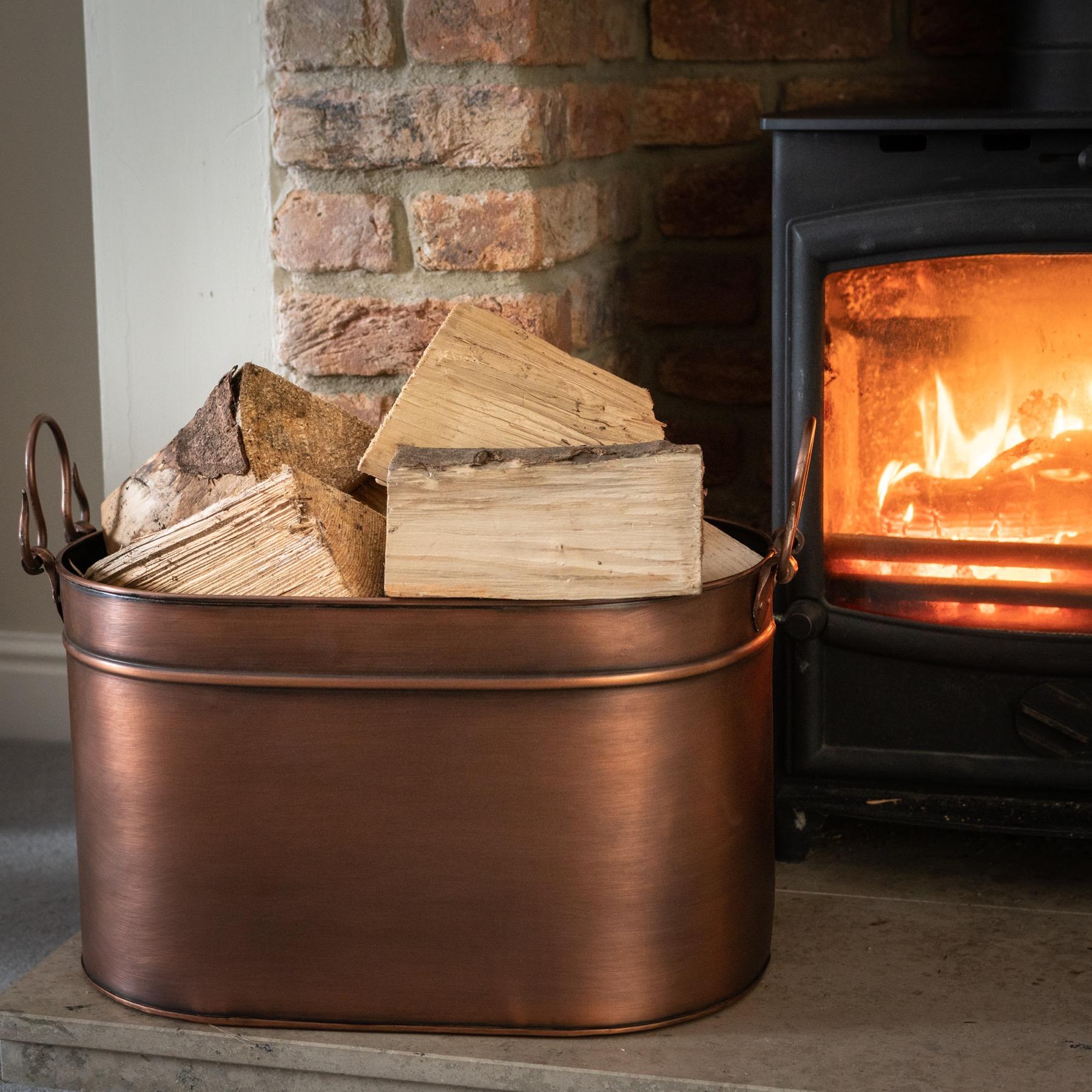 Large Copper Log Bucket - Image 3