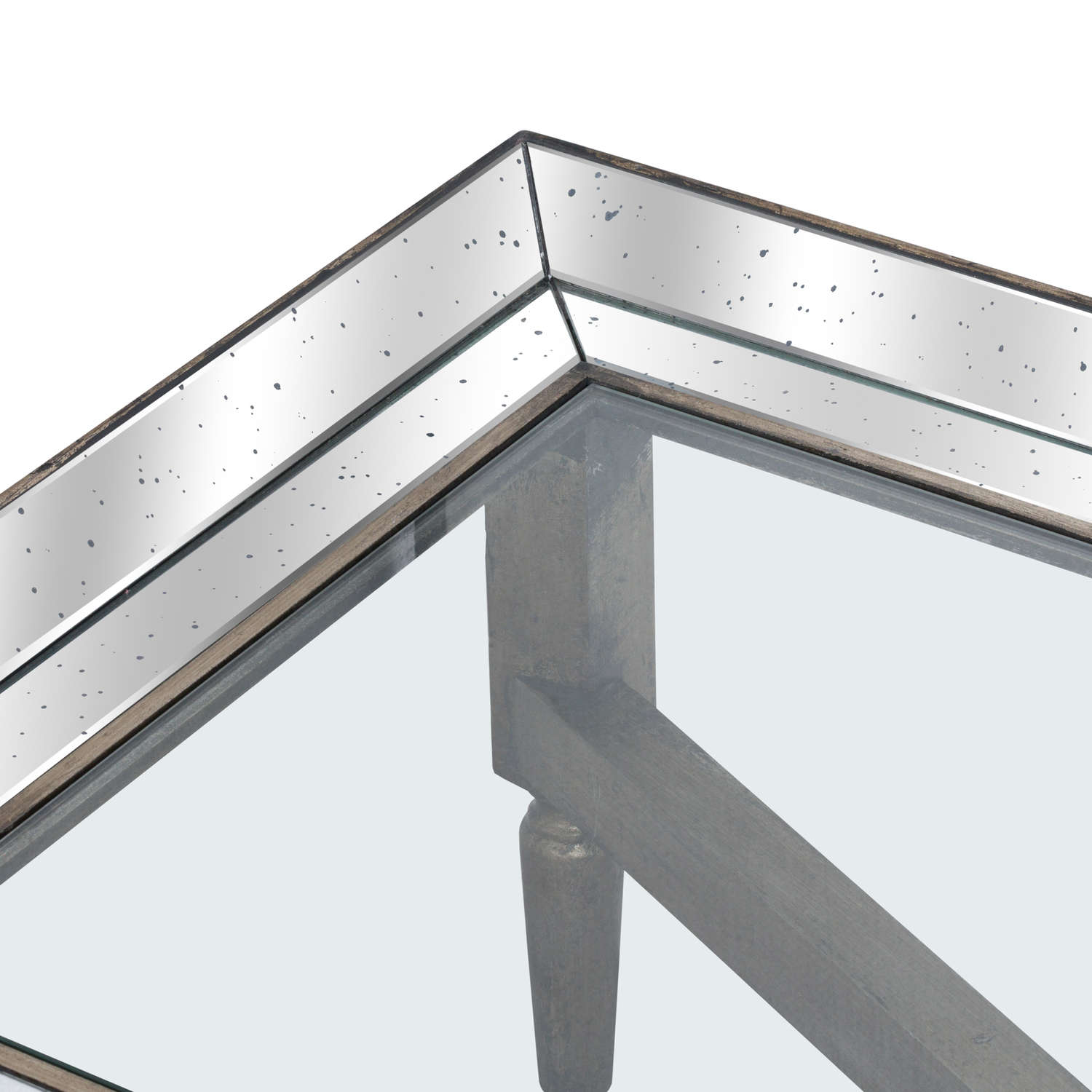 Astor Glass Coffee Table With Mirror Detailing - Image 2