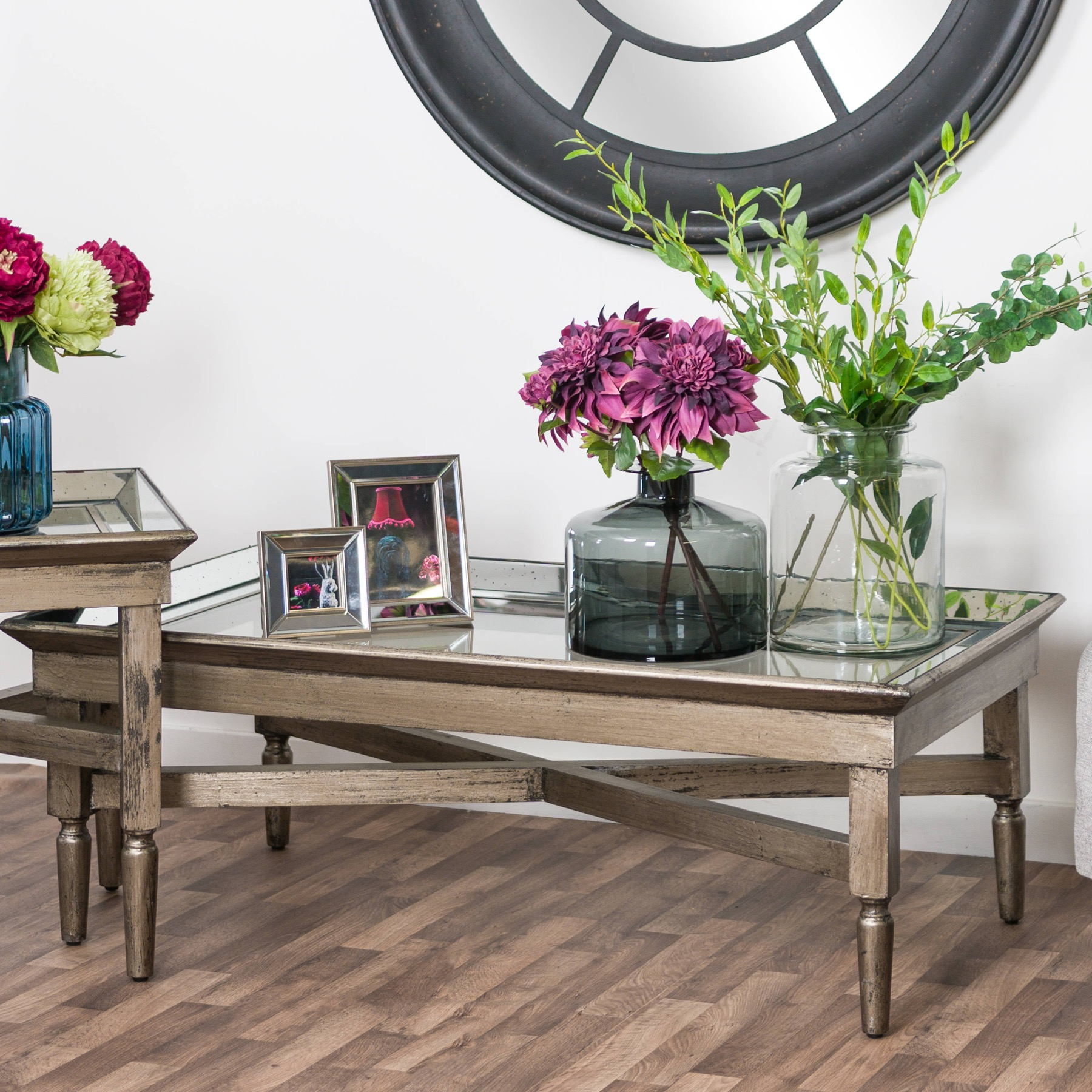 Astor Glass Coffee Table With Mirror Detailing - Image 4