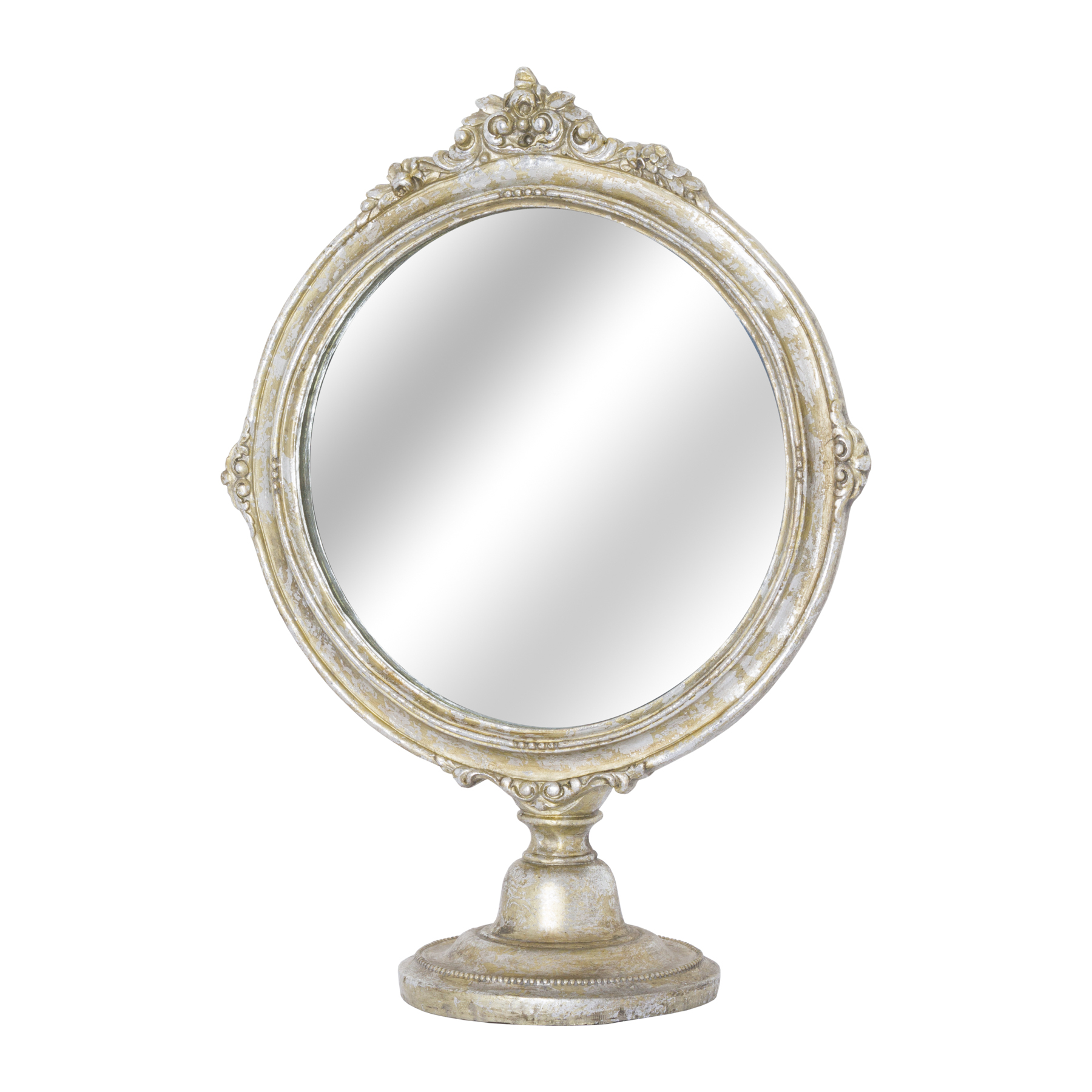 Antique Silver Ornate Round Dressing Table Mirror From
