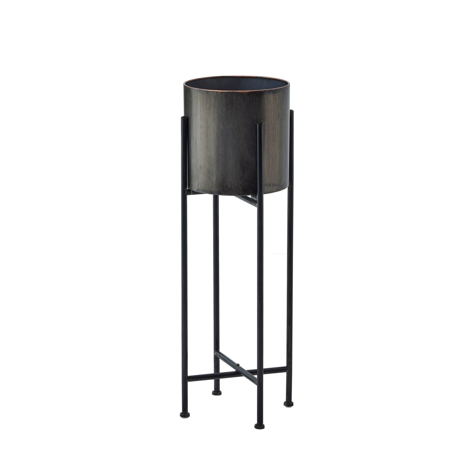 Gun Metal Grey Cylindrical Planter On Black Frame - Image 1