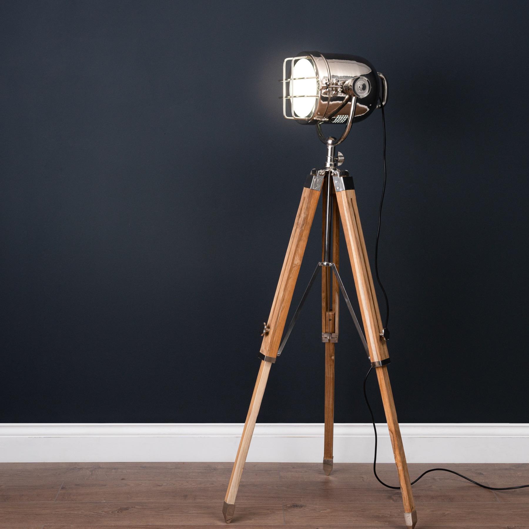 Nickel Industrial Spotlight Tripod Lamp - Image 2