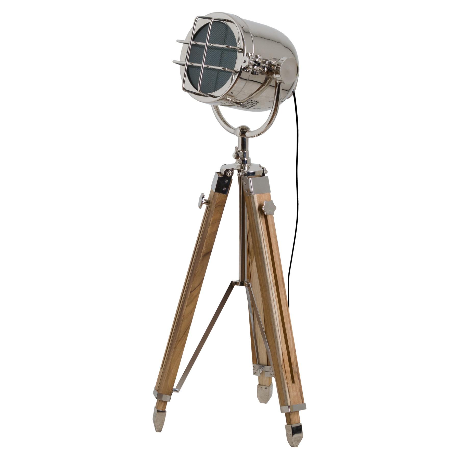 Nickel Industrial Spotlight Tripod Lamp - Image 1