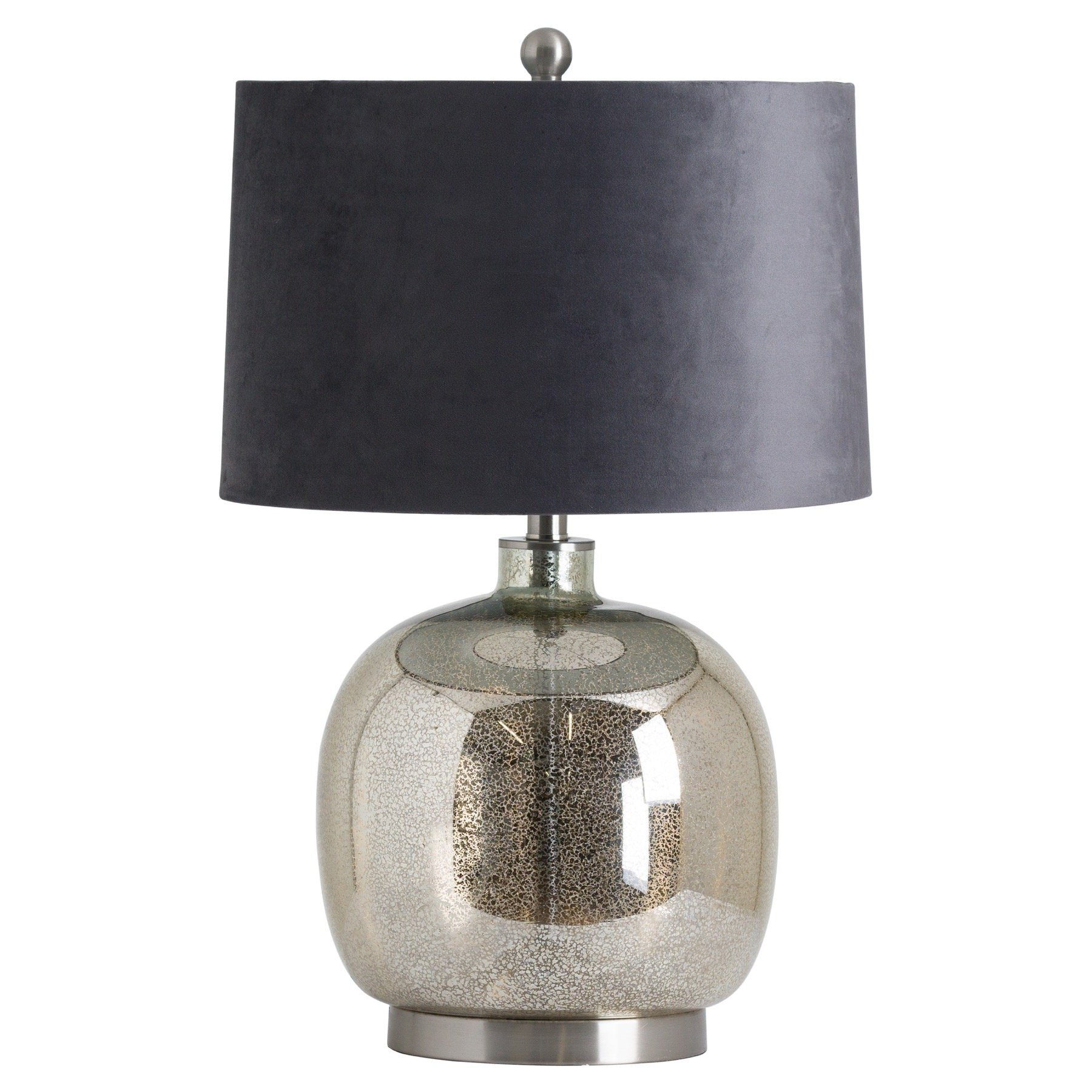 Isla Mirrored Glass Round Table Lamp With Velvet Shade - Image 1