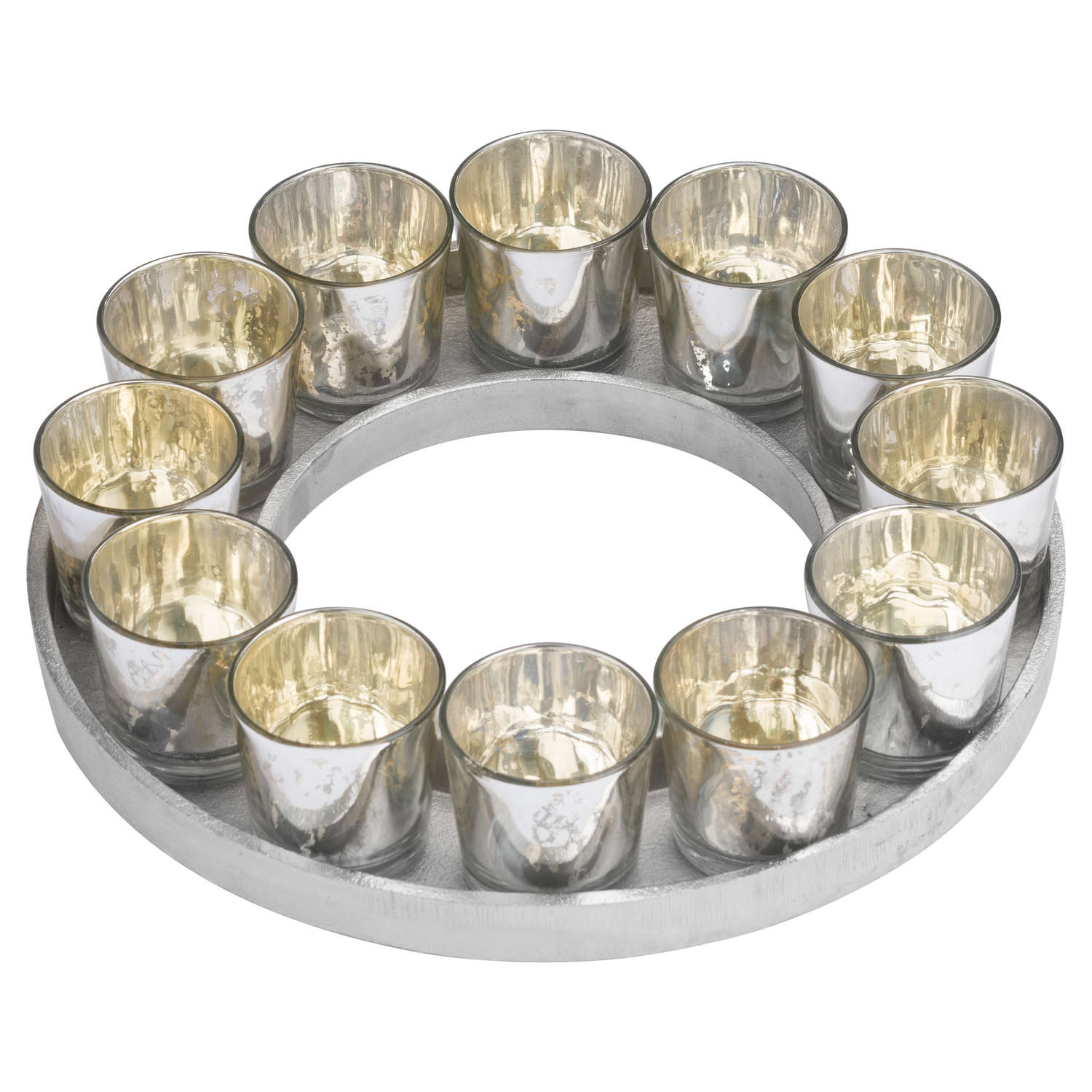 Circular Cast Aluminium Tray With Silver Glass Votives - Image 1
