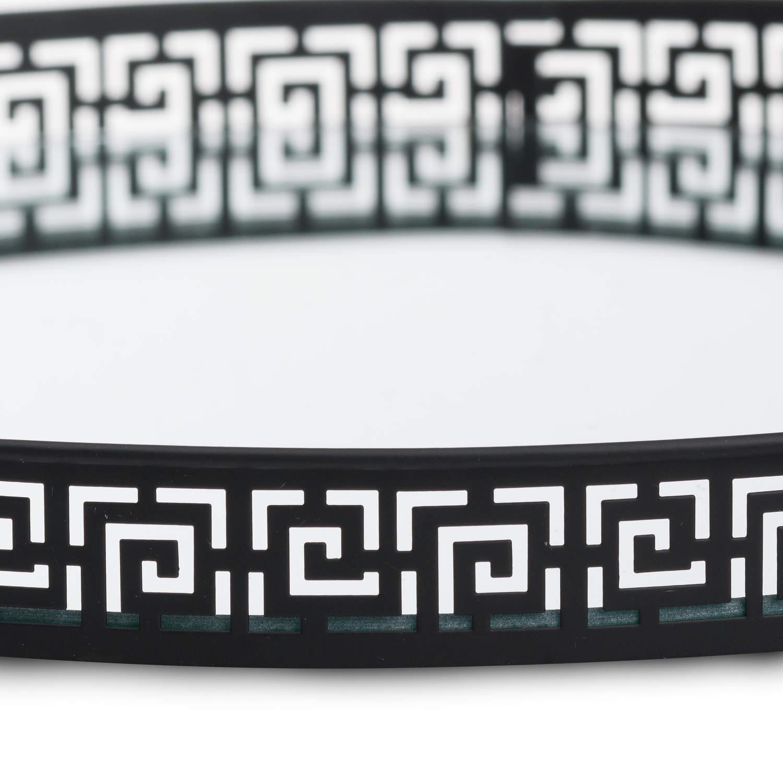 Set Of Two Circular Aztec Black Mirrored Trays - Image 2