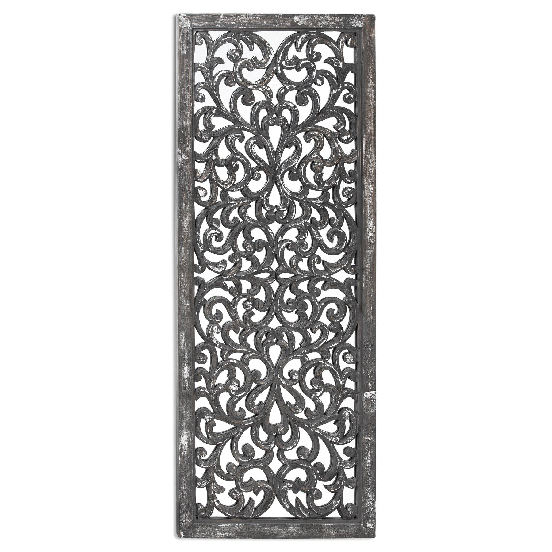 Louis Carved Antique Mettalic Lattice Mirror - Image 1