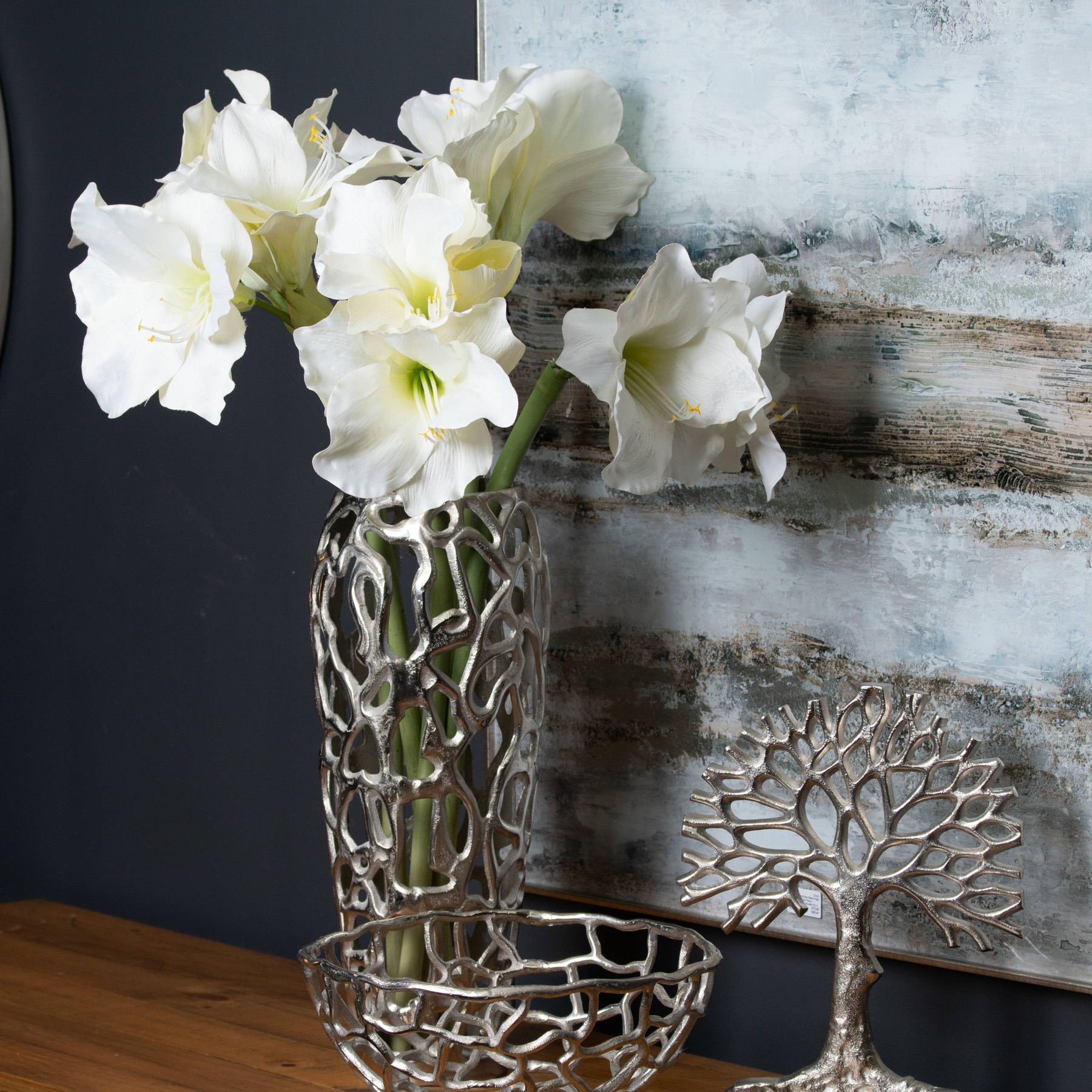 Ohlson Silver Perforated Coral Inspired Vase - Image 3