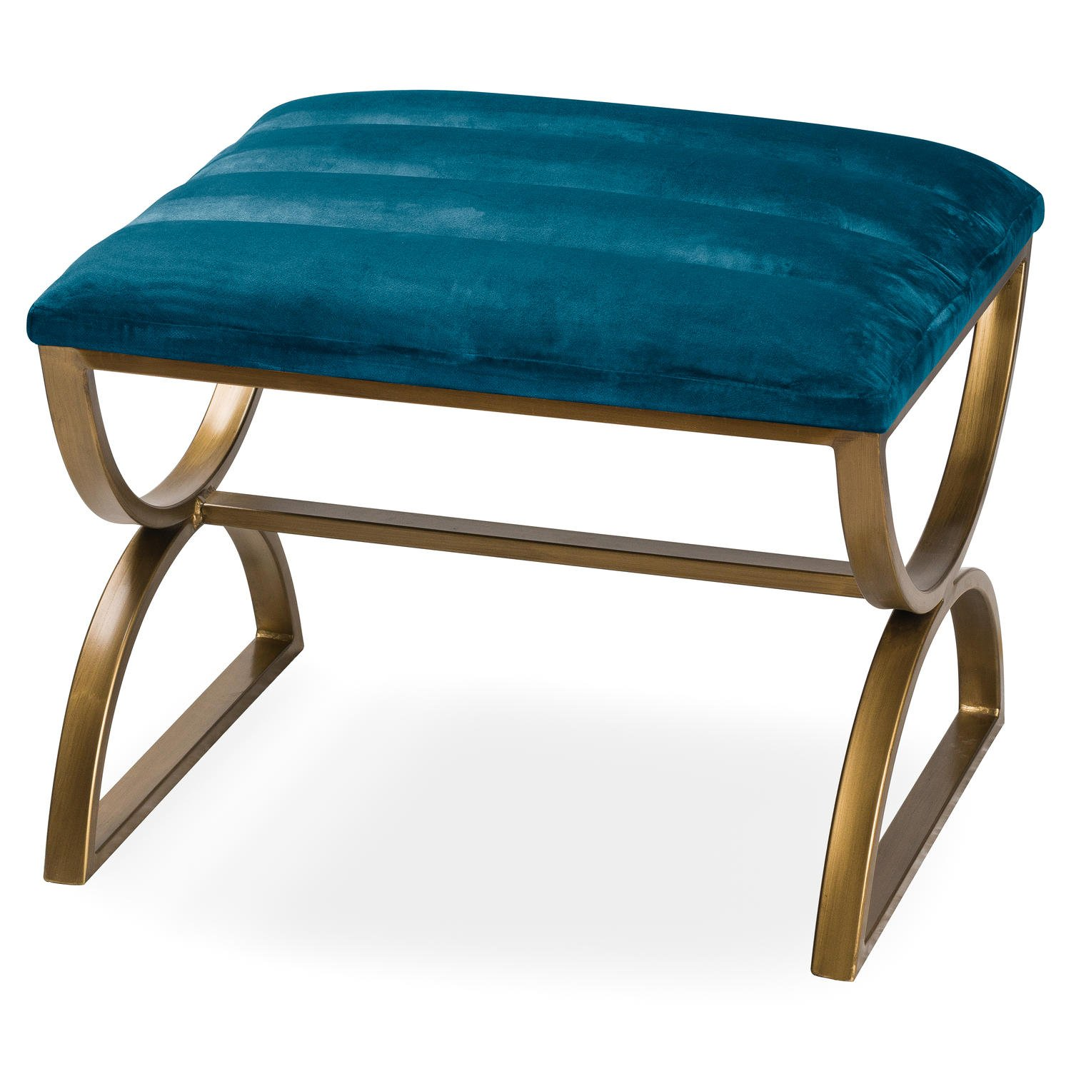 Navy And Brass Ribbed Footstool - Image 1