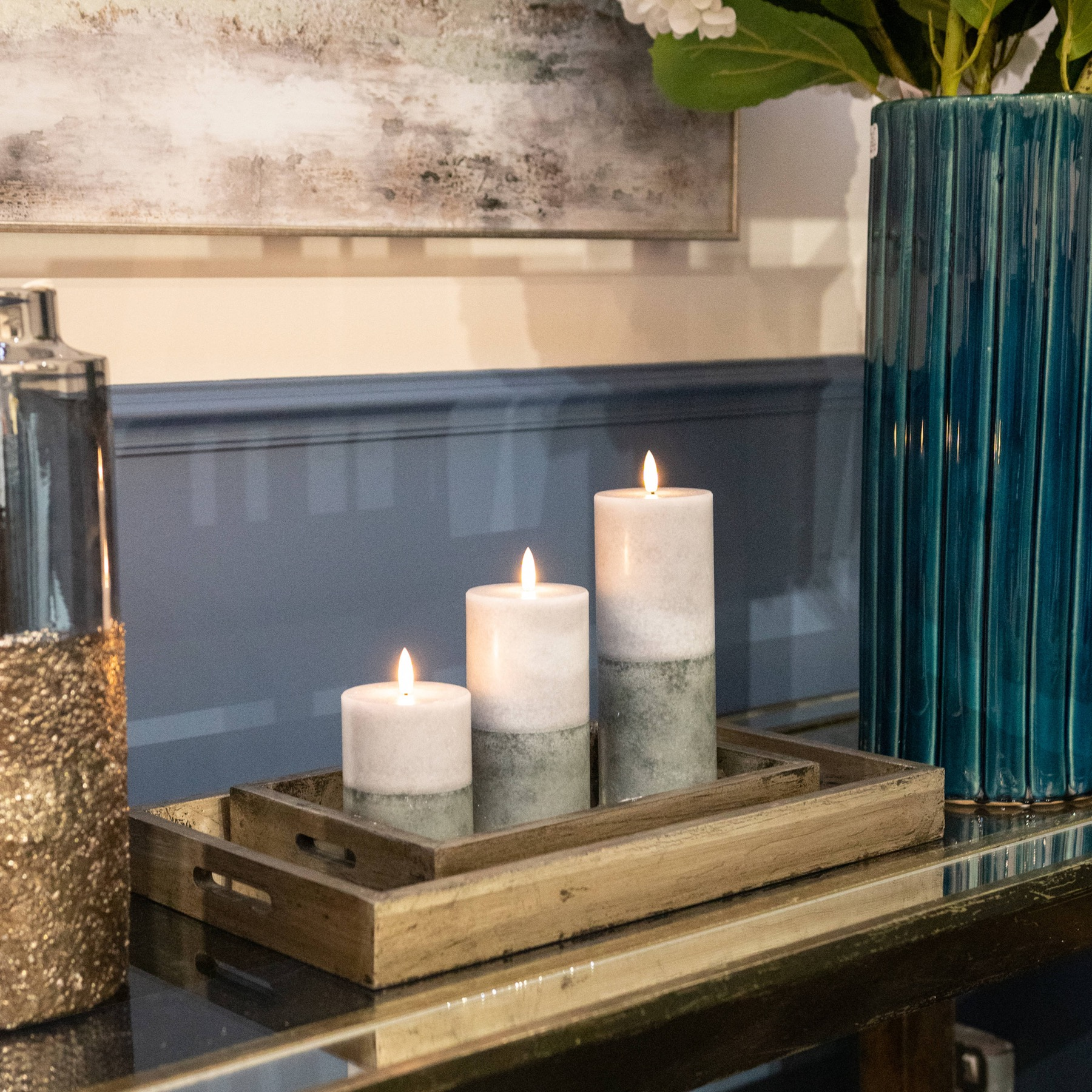 Luxe Collection Natural Glow 3x4 Grey  Dipped LED Candle - Image 3