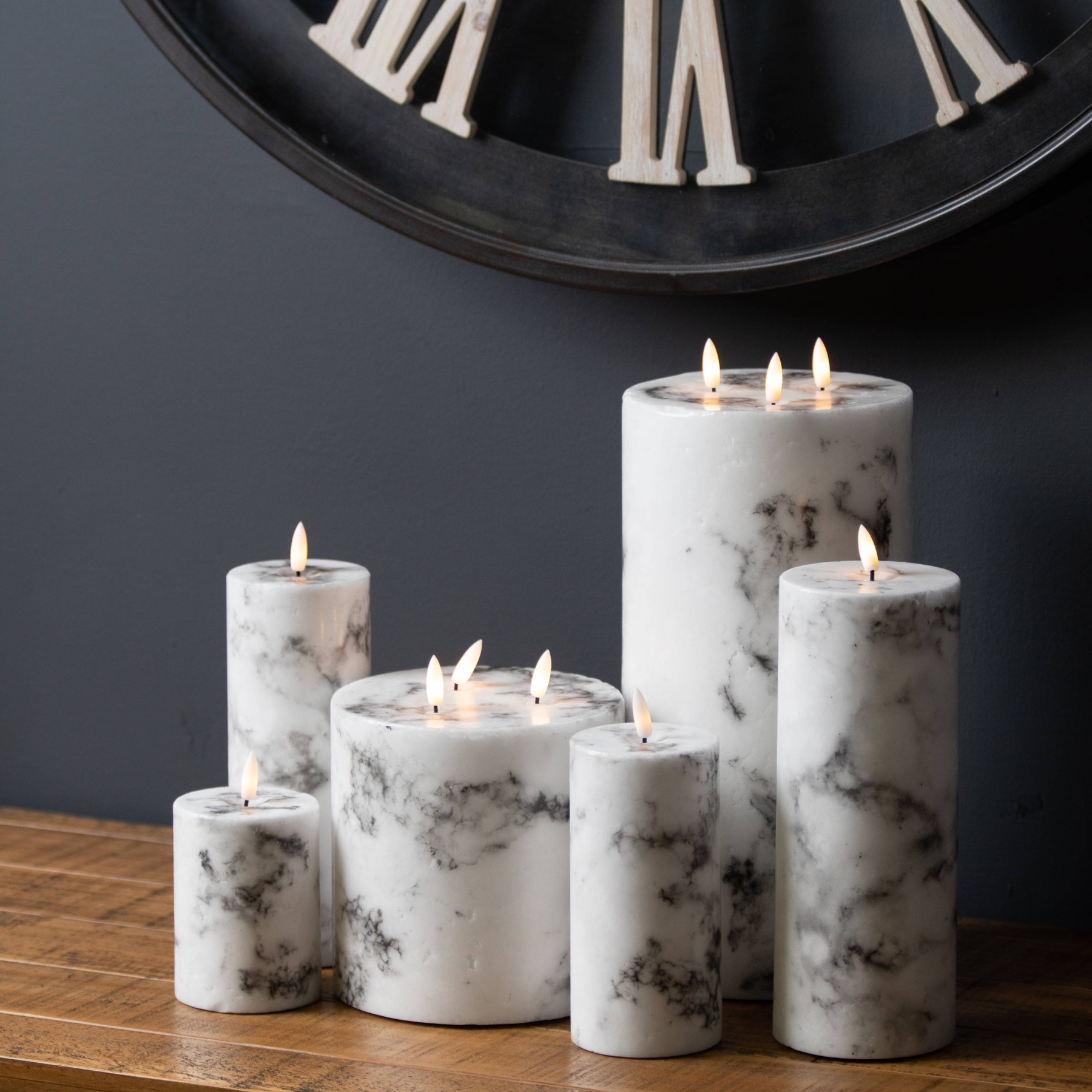 Luxe Collection Natural Glow 3x4 Marble Effect LED Candle - Image 2