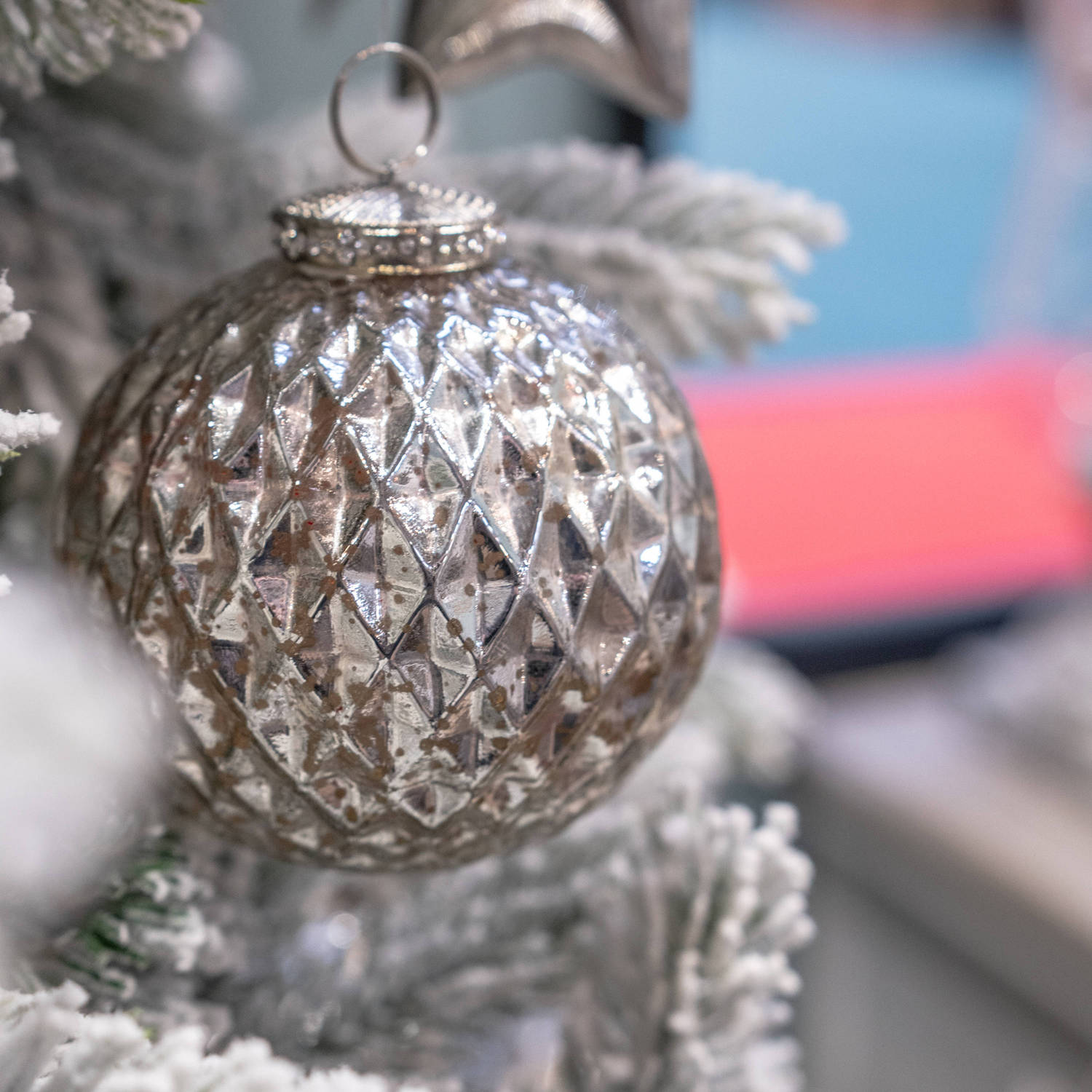 The Noel Collection Silver Large Honeycomb Bauble - Image 3