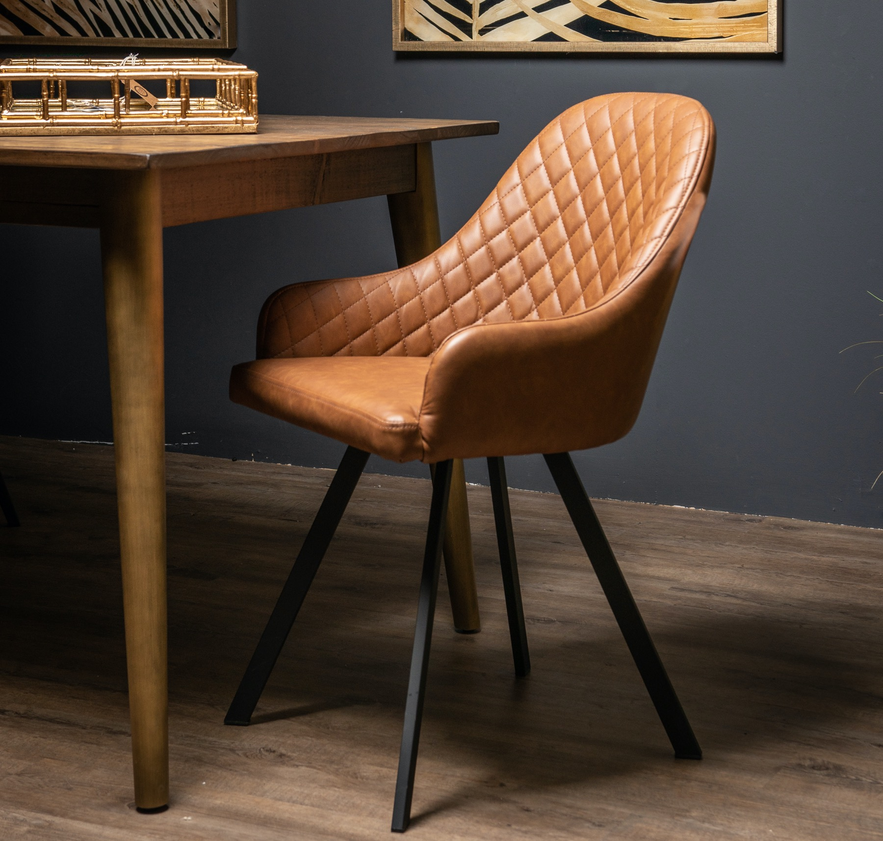 Stockholme Chequered Tan Dining Chair - Image 4