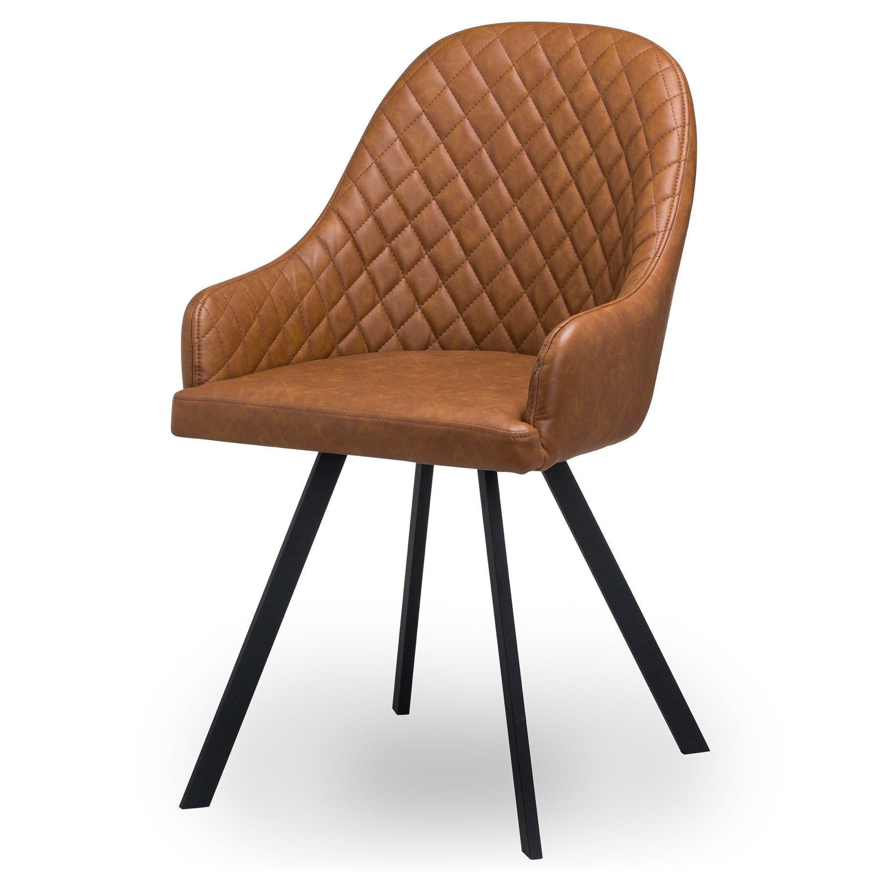 Stockholme Chequered Tan Dining Chair - Image 1