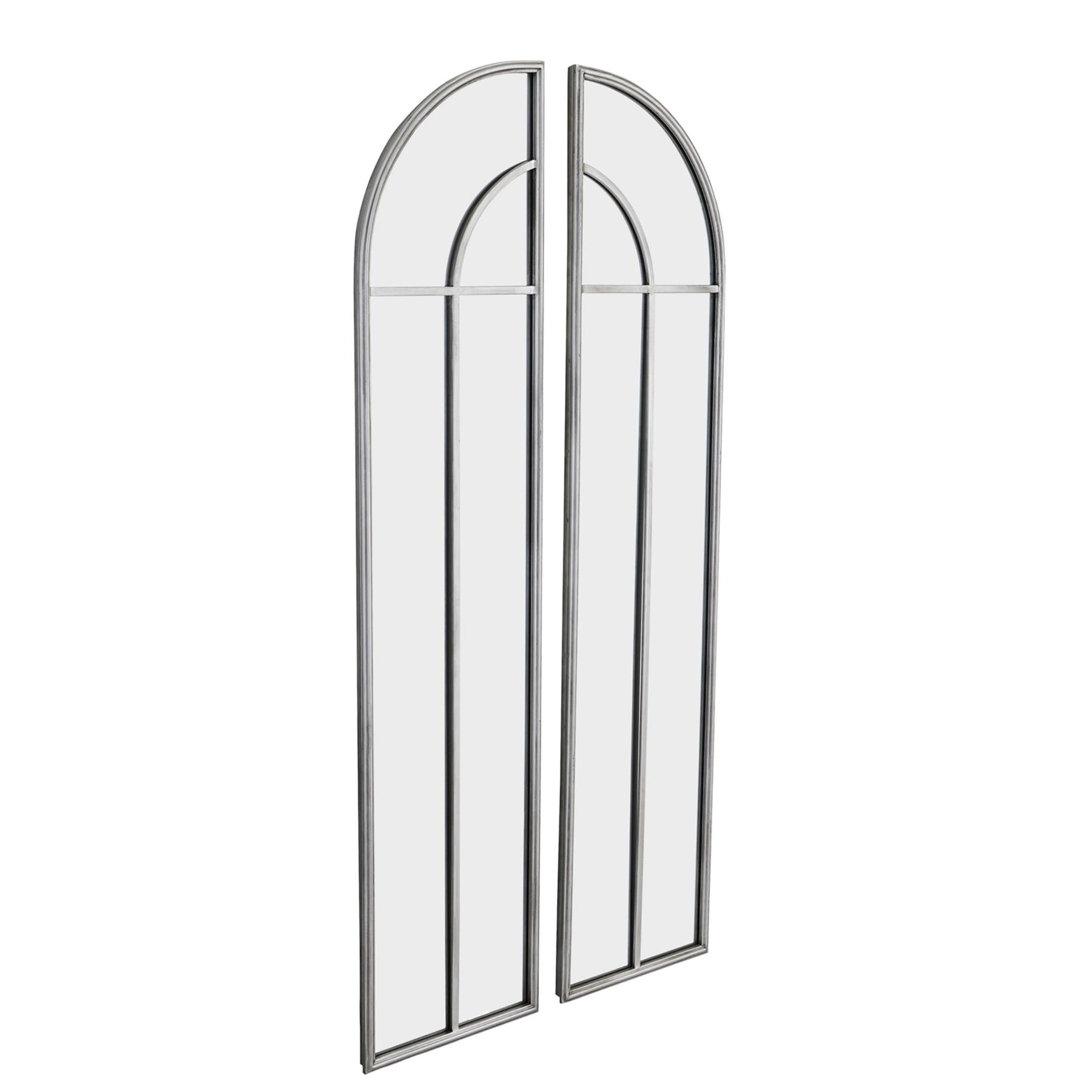 Antique Silver Arch Window Mirror Set - Image 1