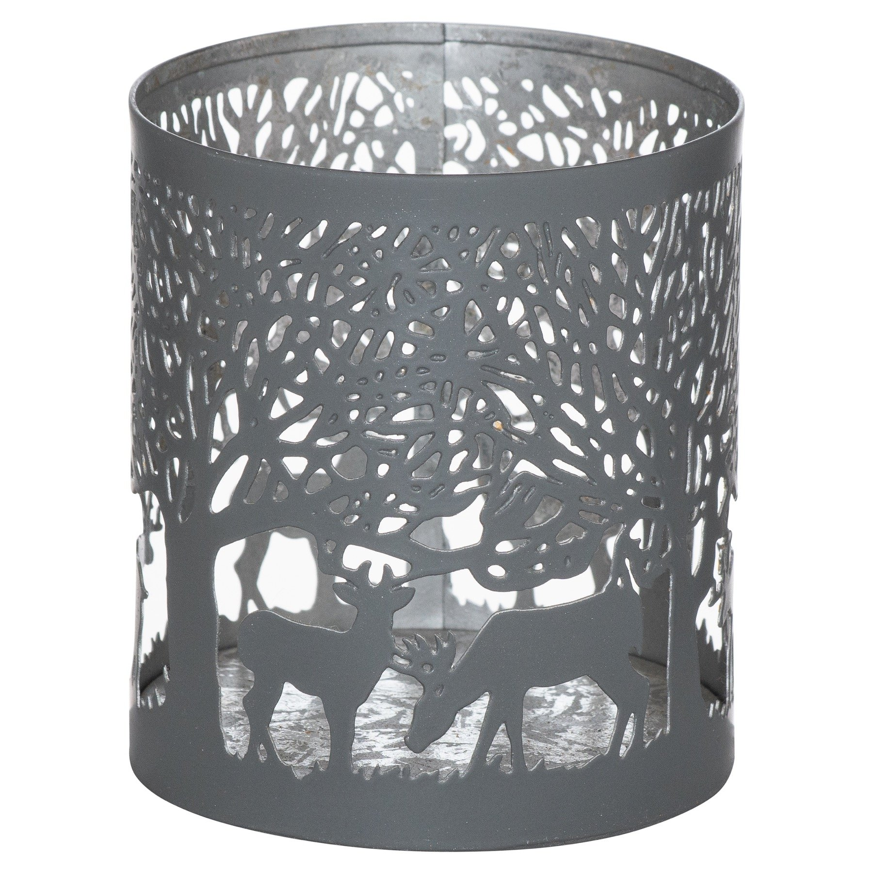 Small Silver And Grey Glowray Stag In Forest Lantern - Image 1