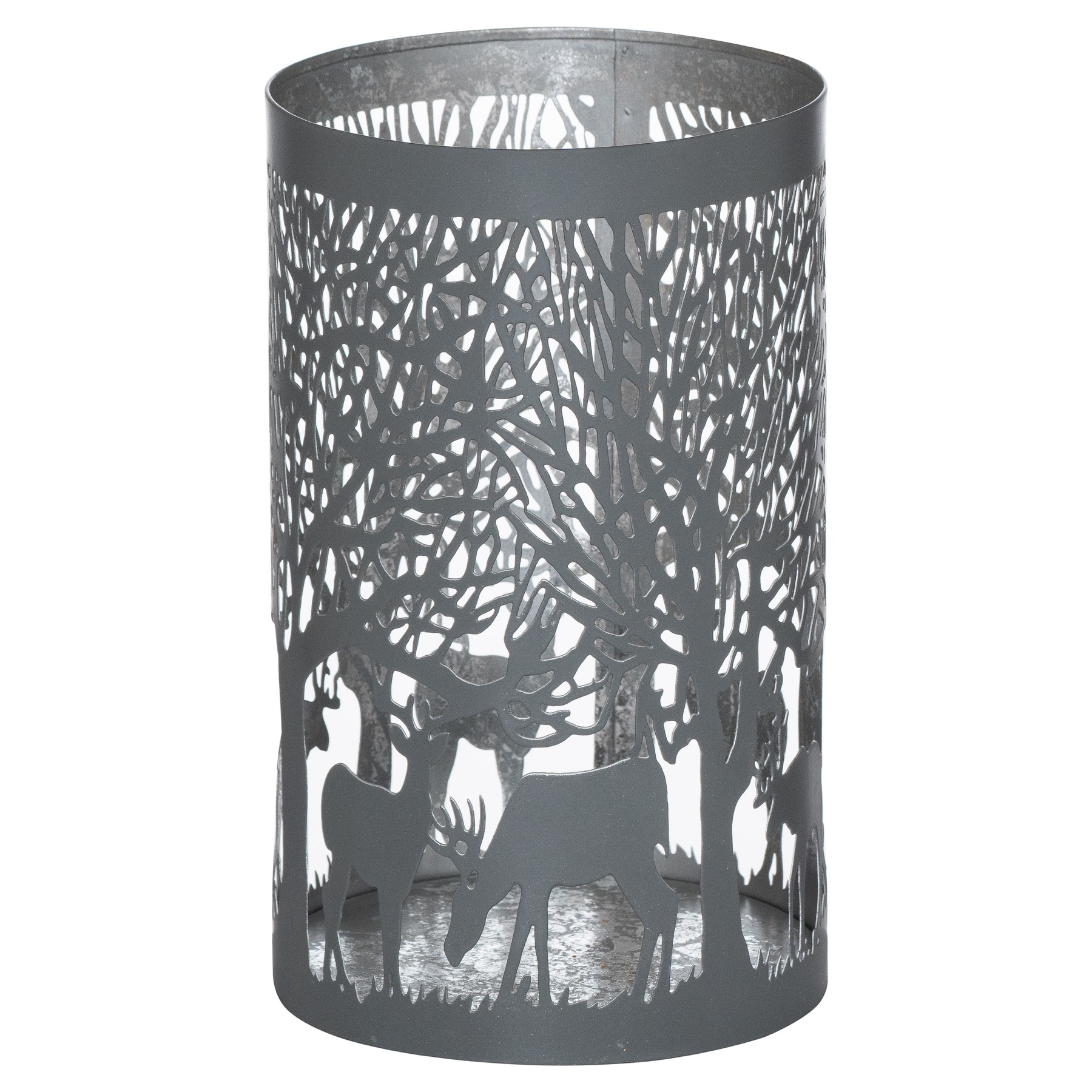 Large Silver And Grey Glowray Stag In Forest Lantern - Image 1