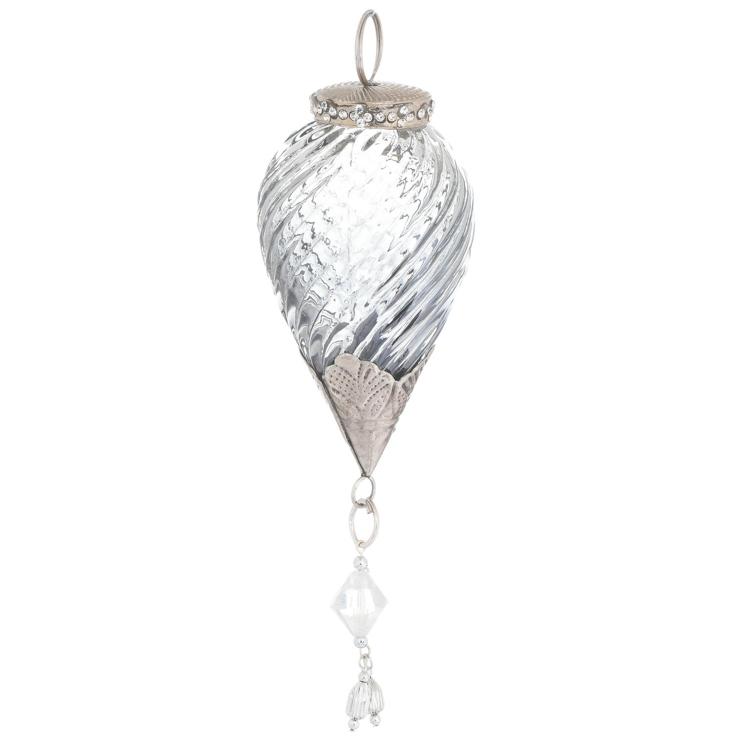 The Noel Collection Smoked Midnight Swirl Jewel Drop Bauble - Image 1