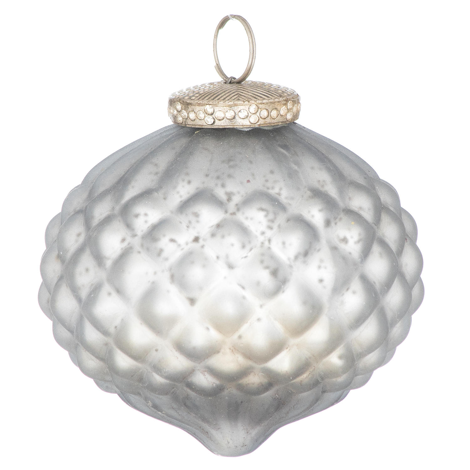 The Noel Collection Mystic Grey Comb Large Teardrop Bauble - Image 1
