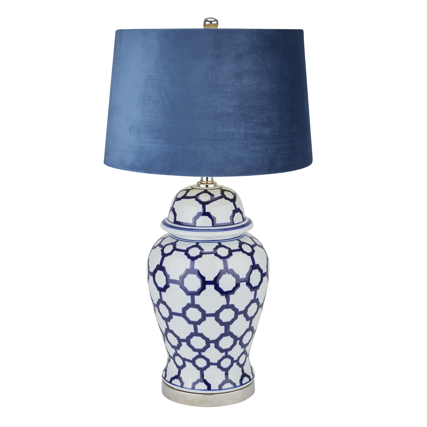 Acanthus Blue And White Ceramic Lamp With Blue Velvet Shade - Image 1