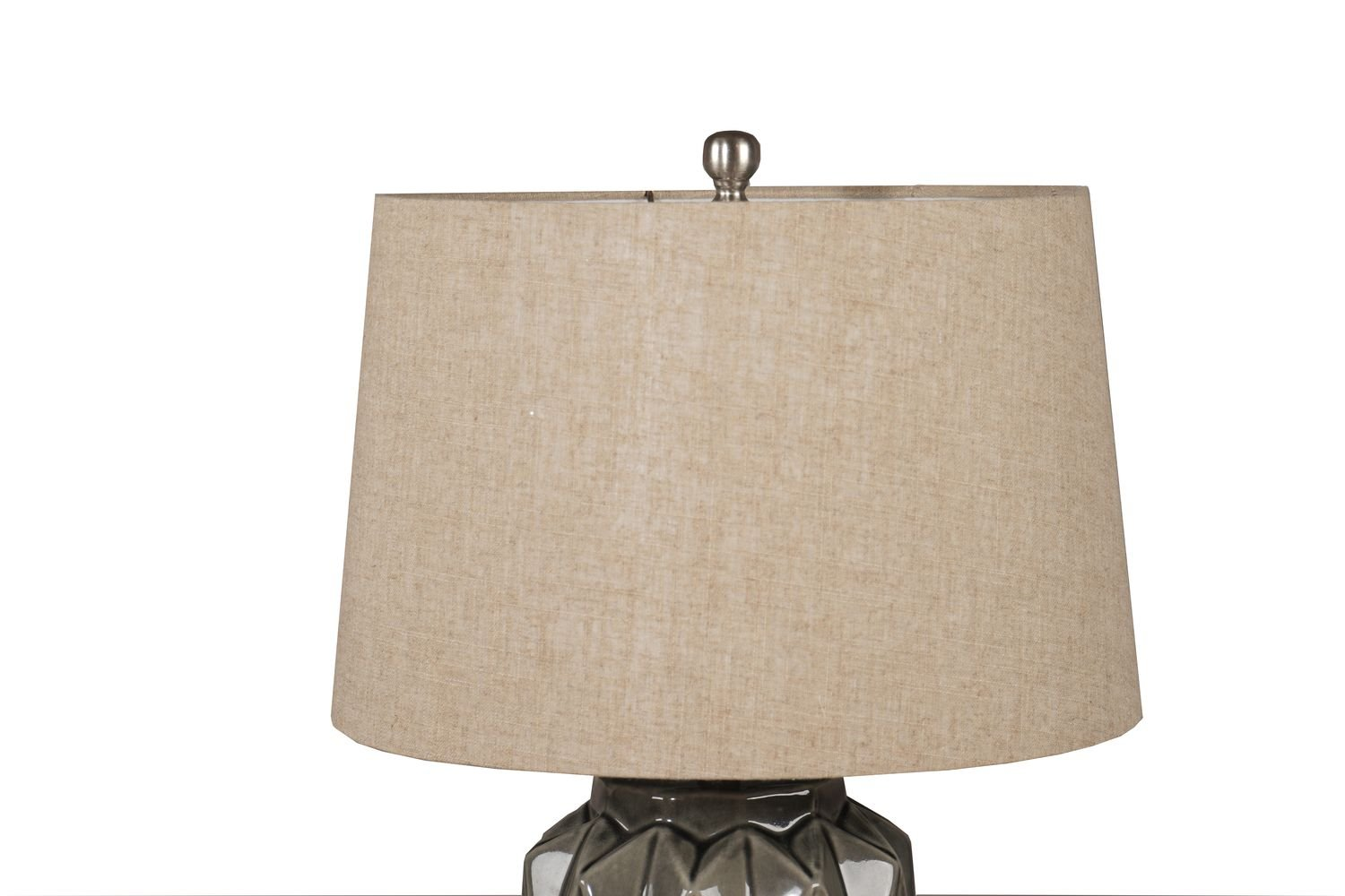 Acantho Grey Ceramic Lamp With Linen Shade - Image 2