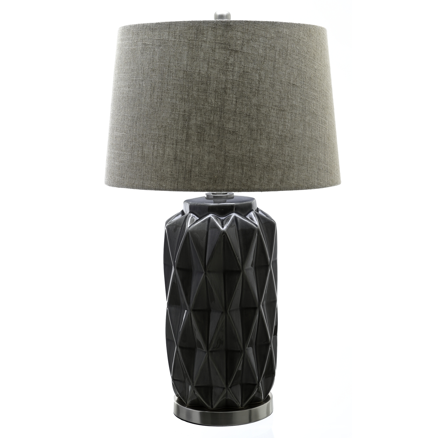 Acantho Grey Ceramic Lamp With Linen Shade - Image 1