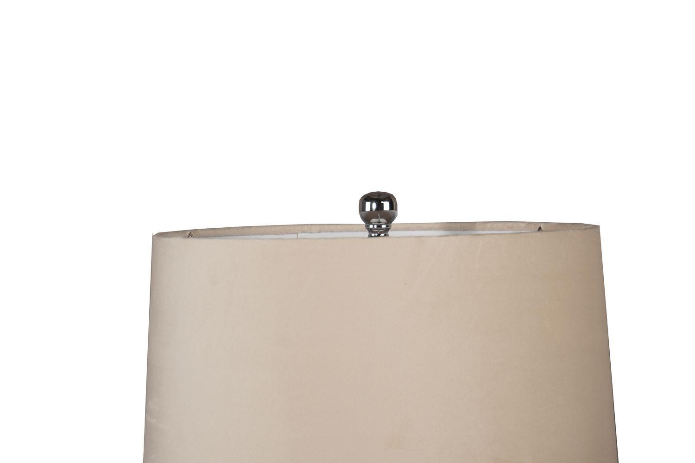 Francis Metallic Glass Lamp With Velvet Shade - Image 2