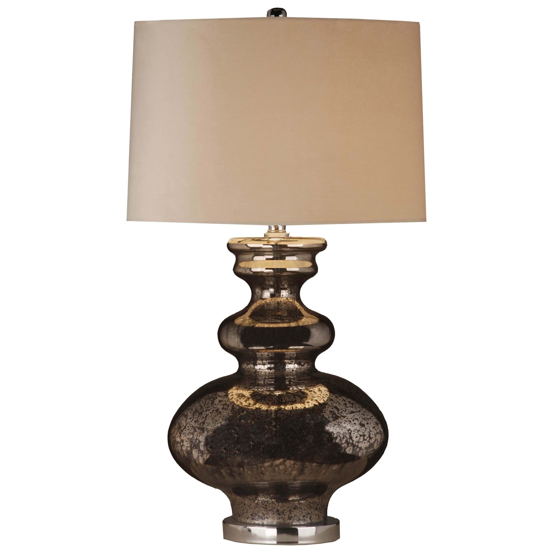 Francis Metallic Glass Lamp With Velvet Shade - Image 1