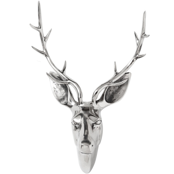 Wall Mountable Medium Silver Stag Head From Hill Interiors