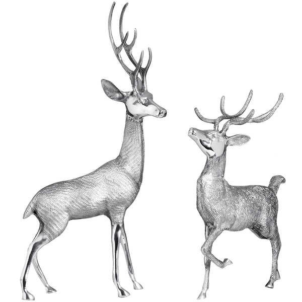 Pair of Silver Metal Deers