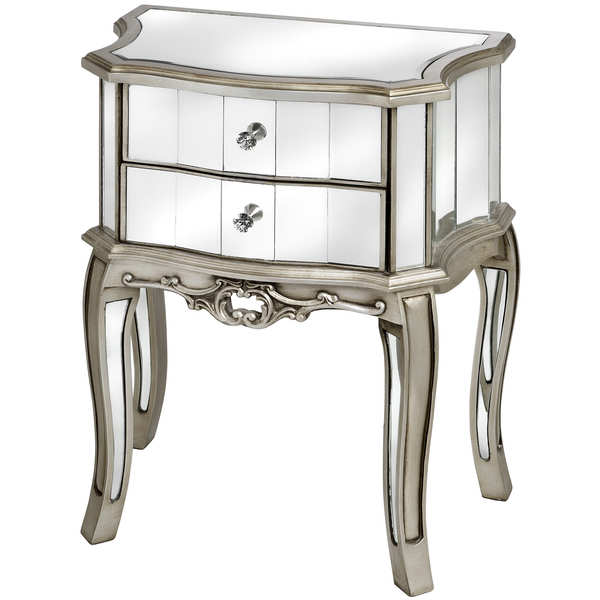 Argente Mirrored Two Drawer Bedside Table From Hill Interiors