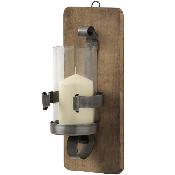 Wrought Iron Hurricane Wall Sconce - Ant. Pewter