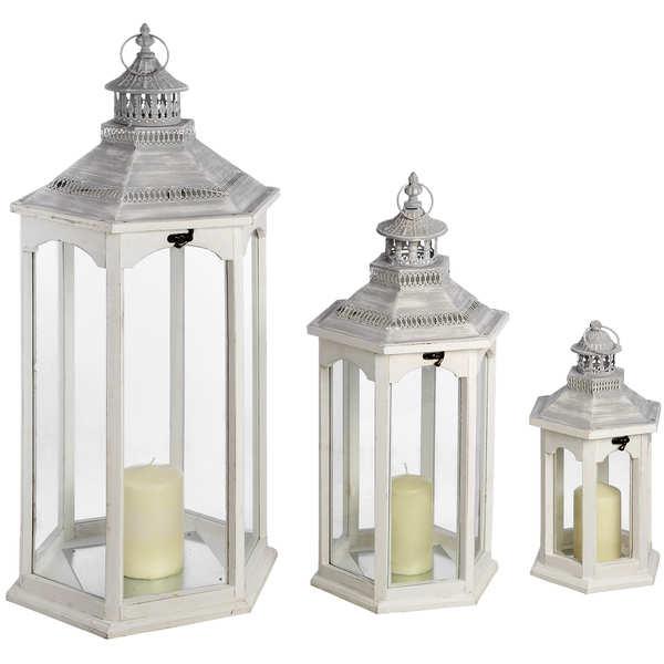 Set of Three Hexagonal Lanterns